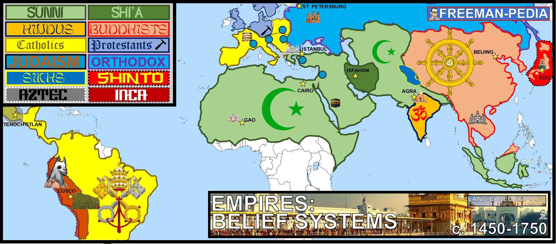 EMPIRES BELIEF SYSTEMS WORLD MAP GEOGRAPHY FREEMANPEDIA AP WORLD MODERN.JPG