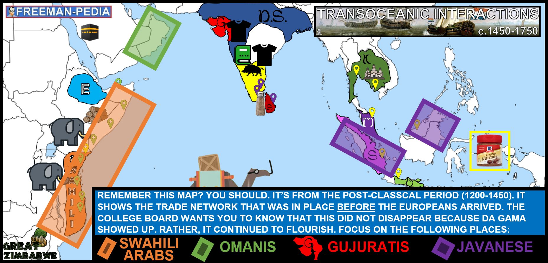 existing trade networks in the Indian Ocean continued to flourish AP WORLD HISTORY MODERN FREEMANPEDIA.JPG