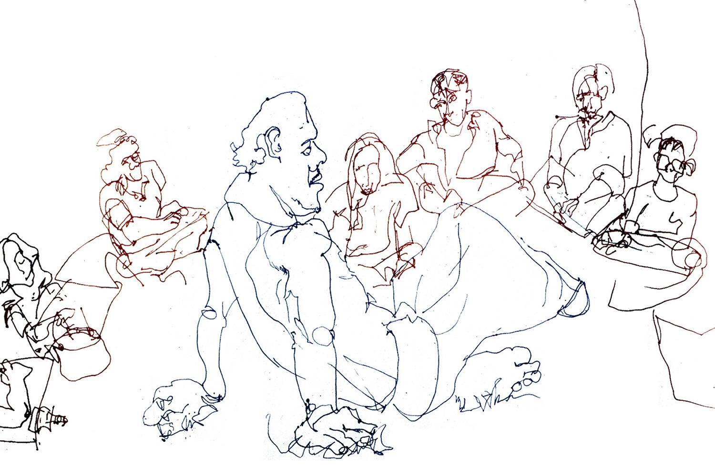 Sitting, blind contour
