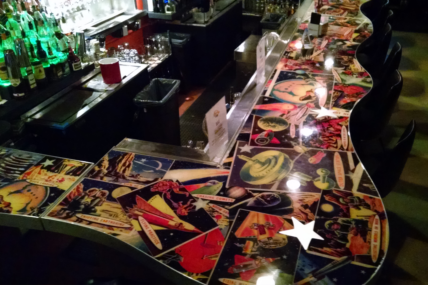 Collage and resin bar top
