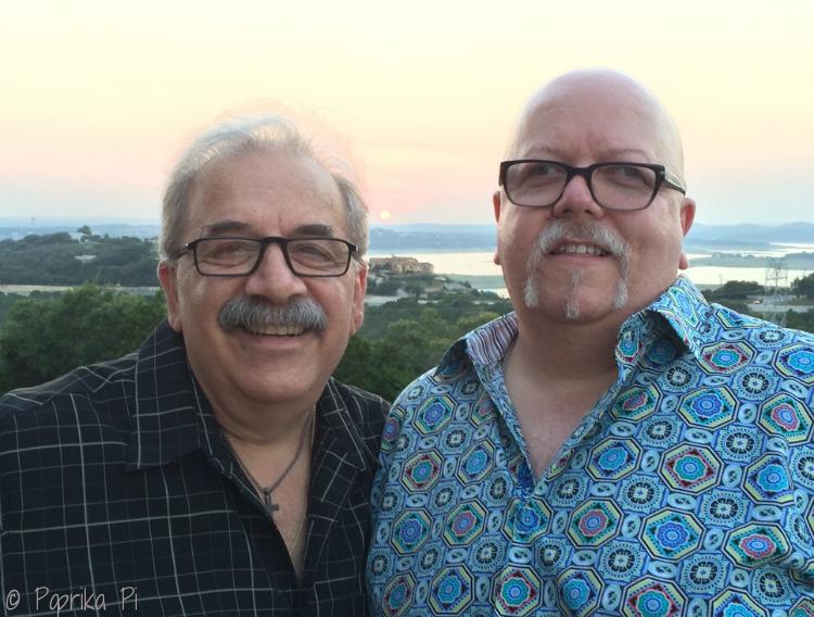 Tony & Luis at sunset, Lake Travis (Austin TX) July 2014