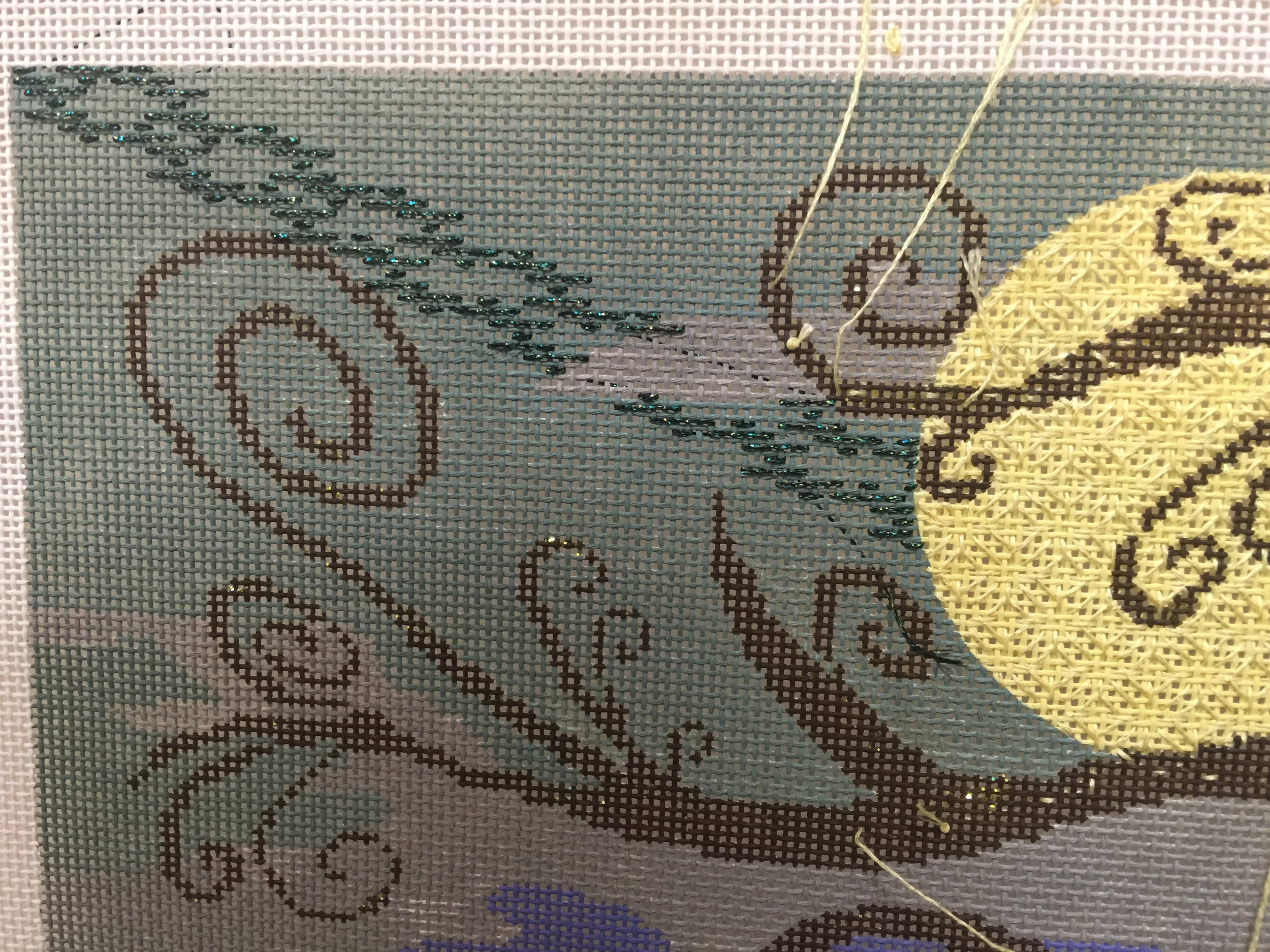 A new stitch for the Sky and 5-step Blackwork pattern for the Moon.