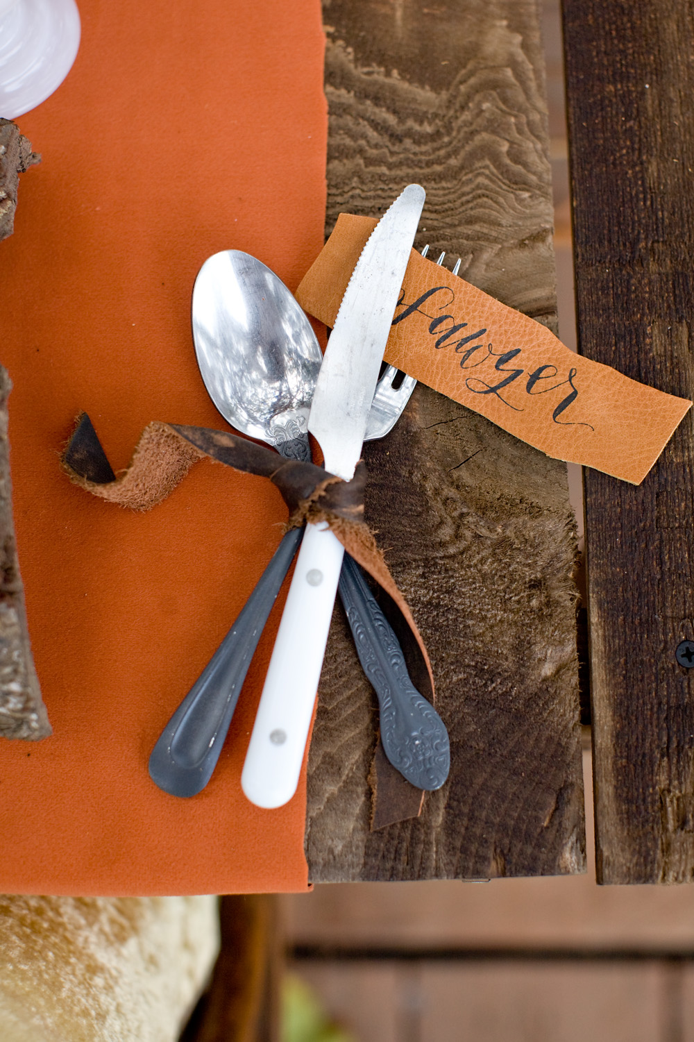 leather name cards silverware