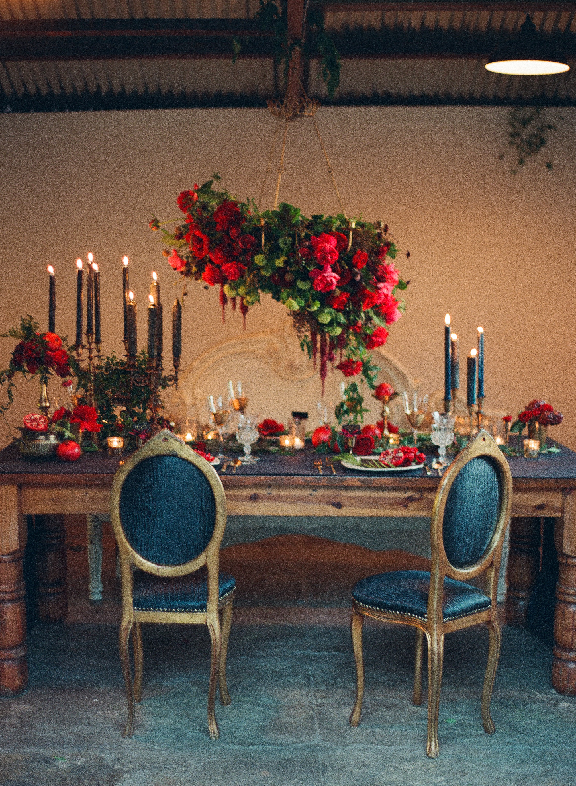 Romantic wedding red tablescape