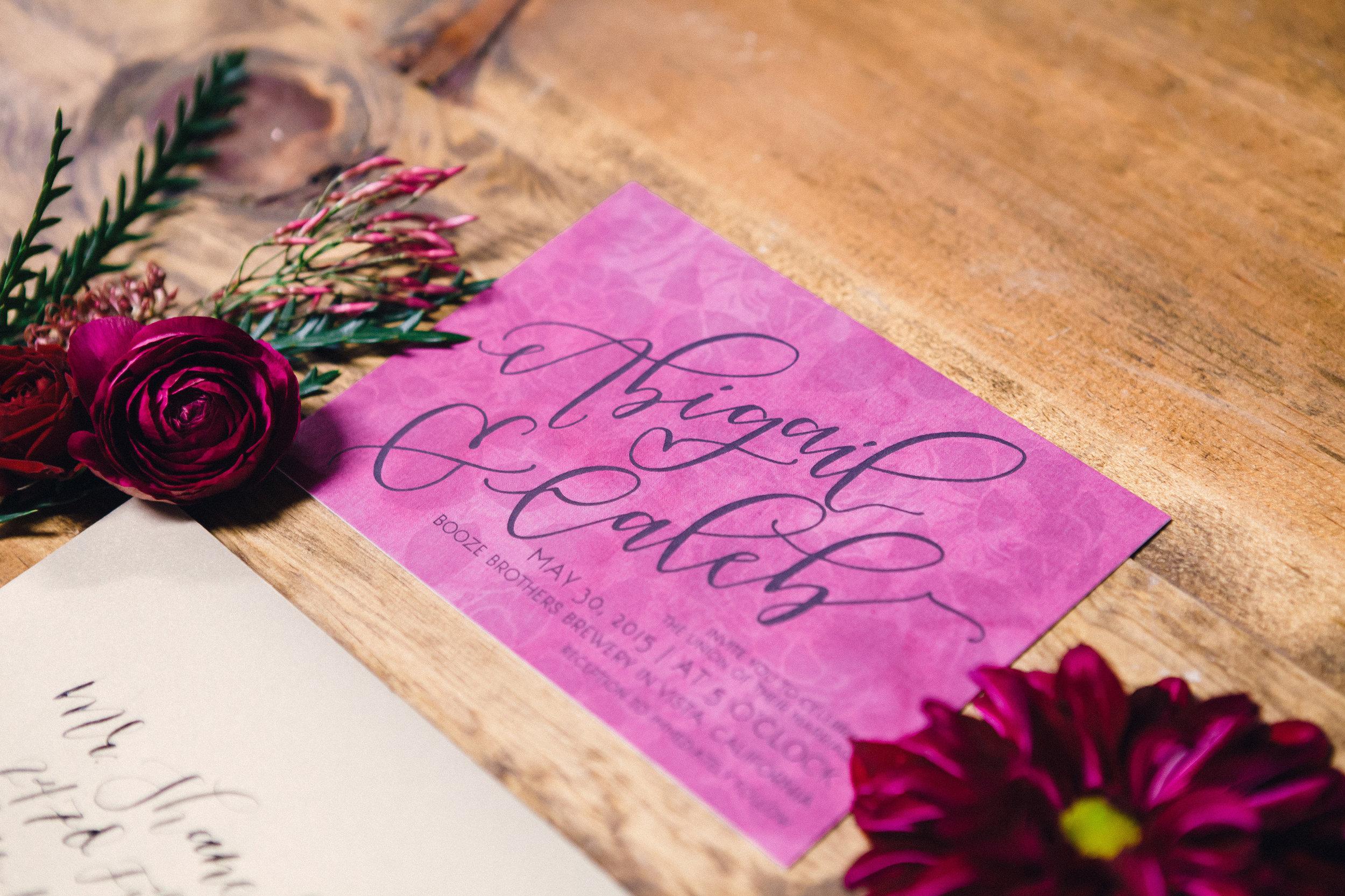 Calligraphy marsala wedding invtiation