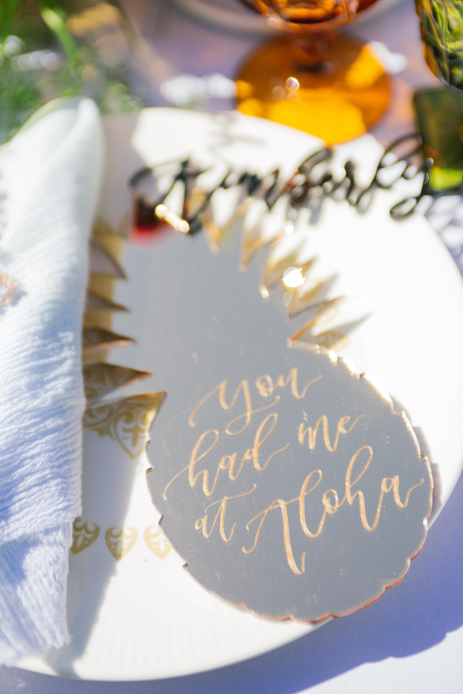 Gold acrylic pineapple calligraphy