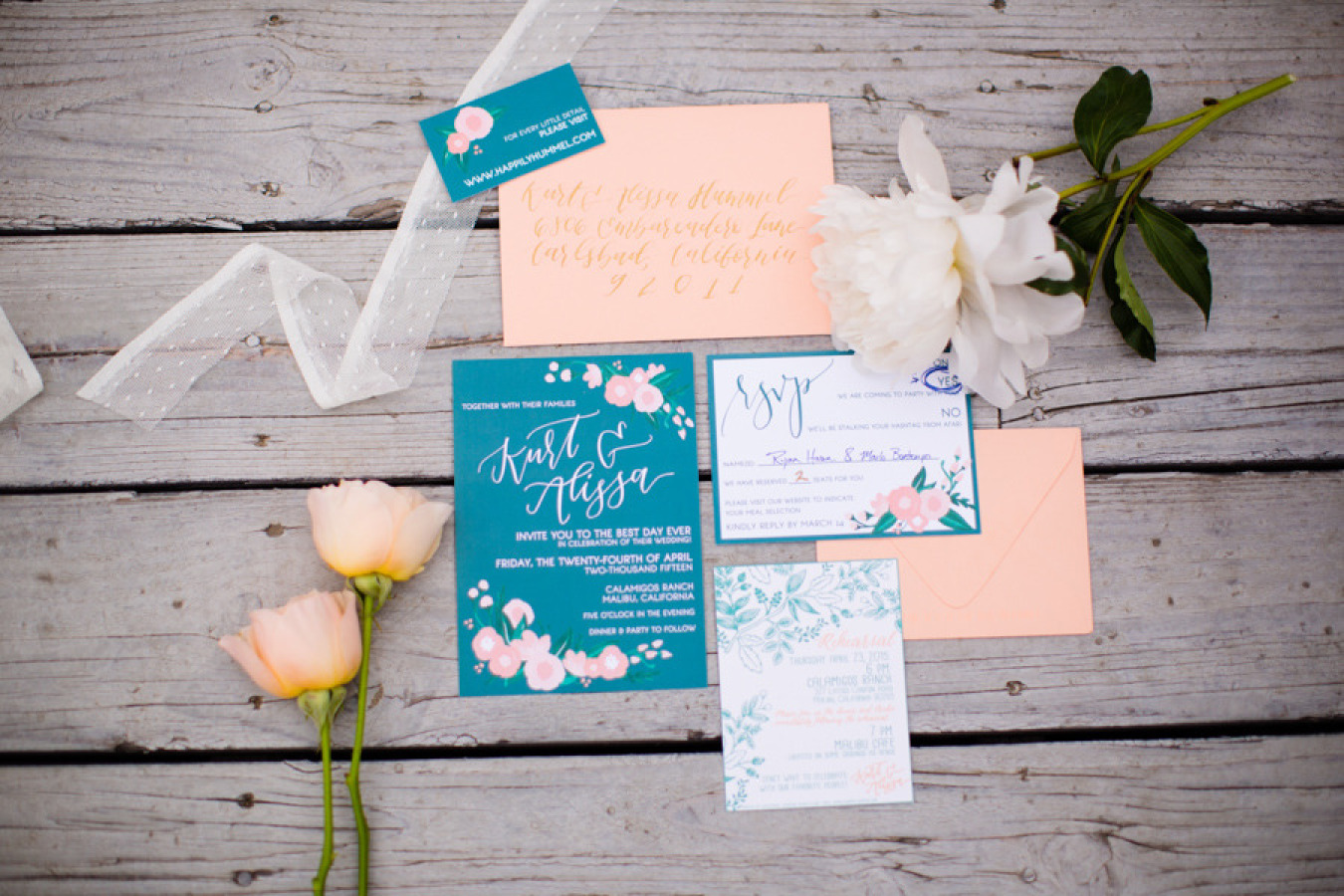 Jade and peach wedding invitations