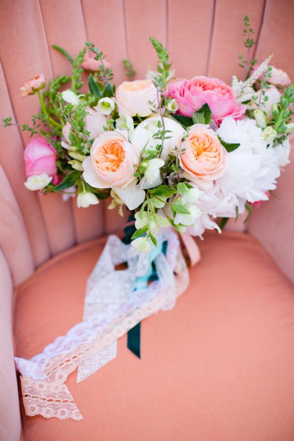 Peach and blush wedding bouquet