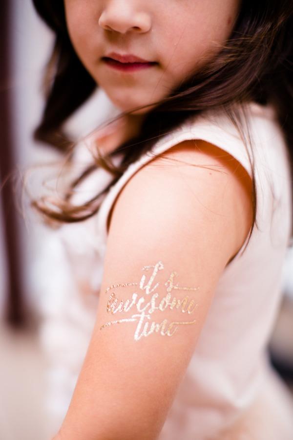 Gold tattoo wedding favors
