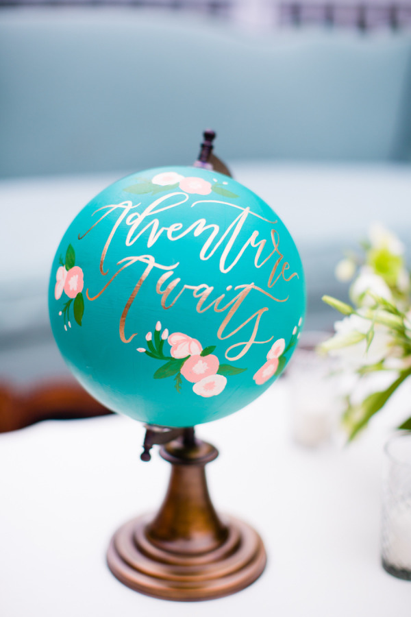 Hand painted calligraphy globe