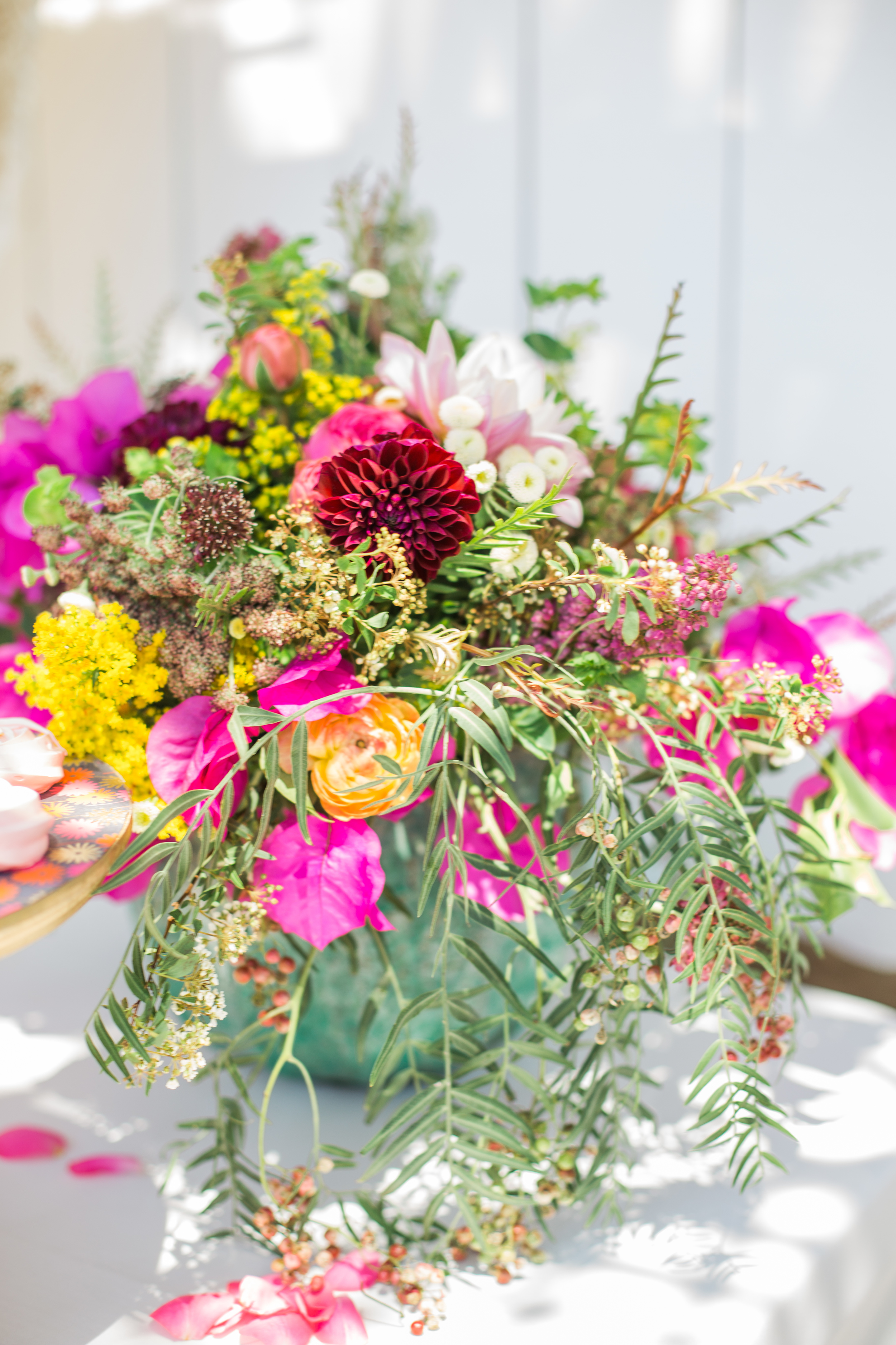 Bright and eclectic floral arrangement