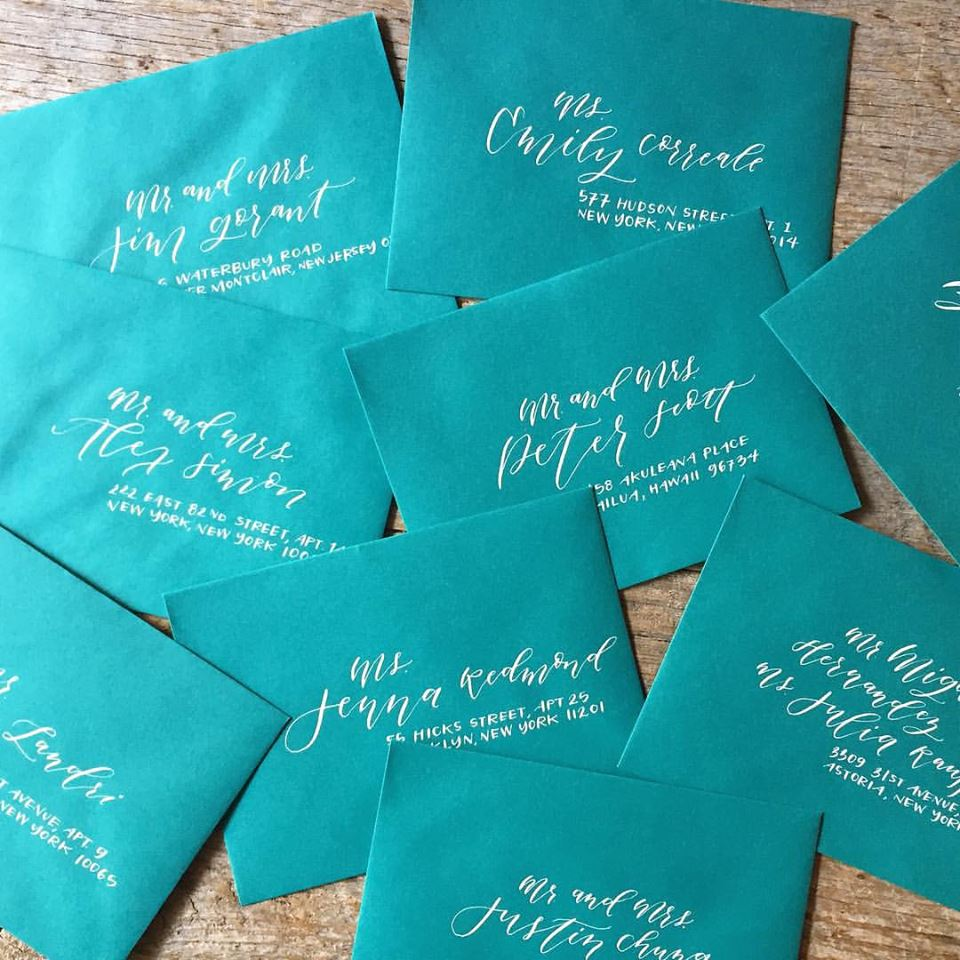 Addressing wedding envelopes