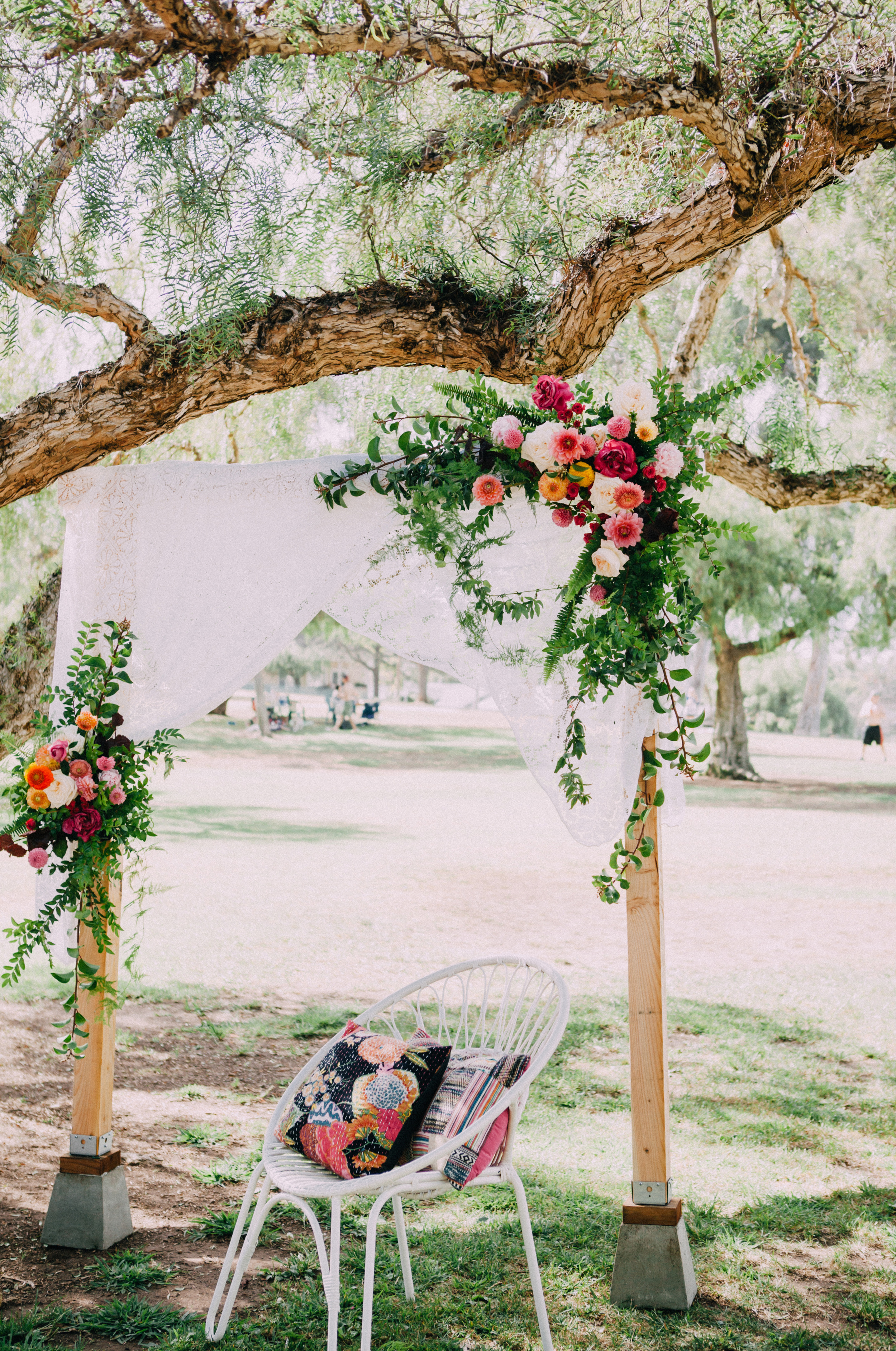 Outdoor bohemian floral arch