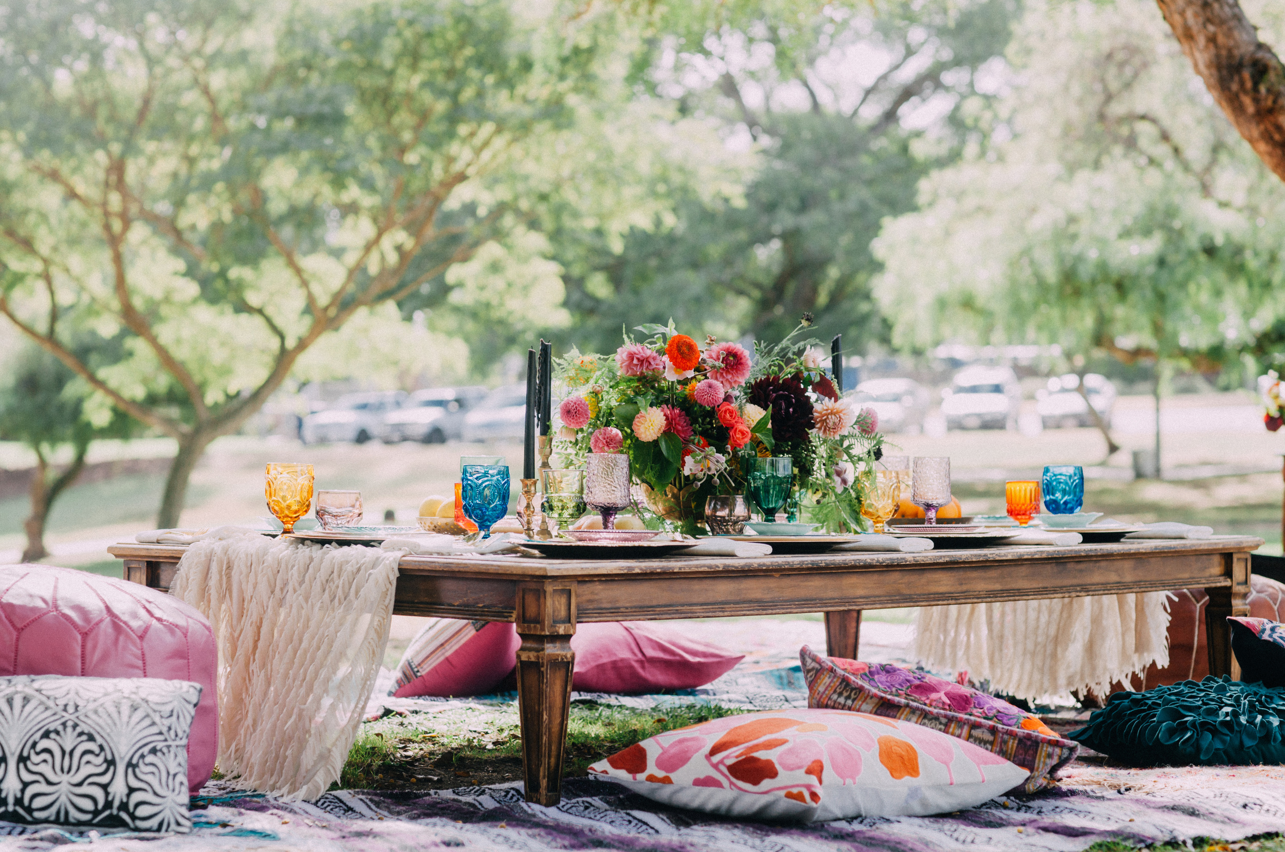 Outdoor bohemian bridal shower lunch