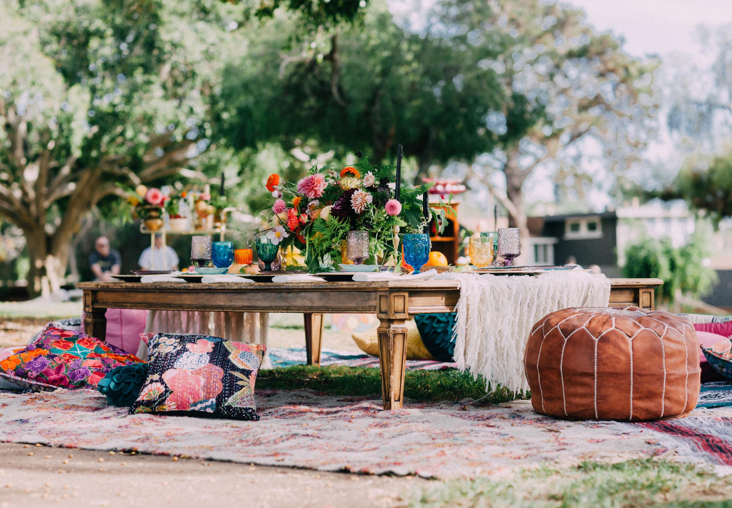 Outdoor bohemian bridal shower picnic
