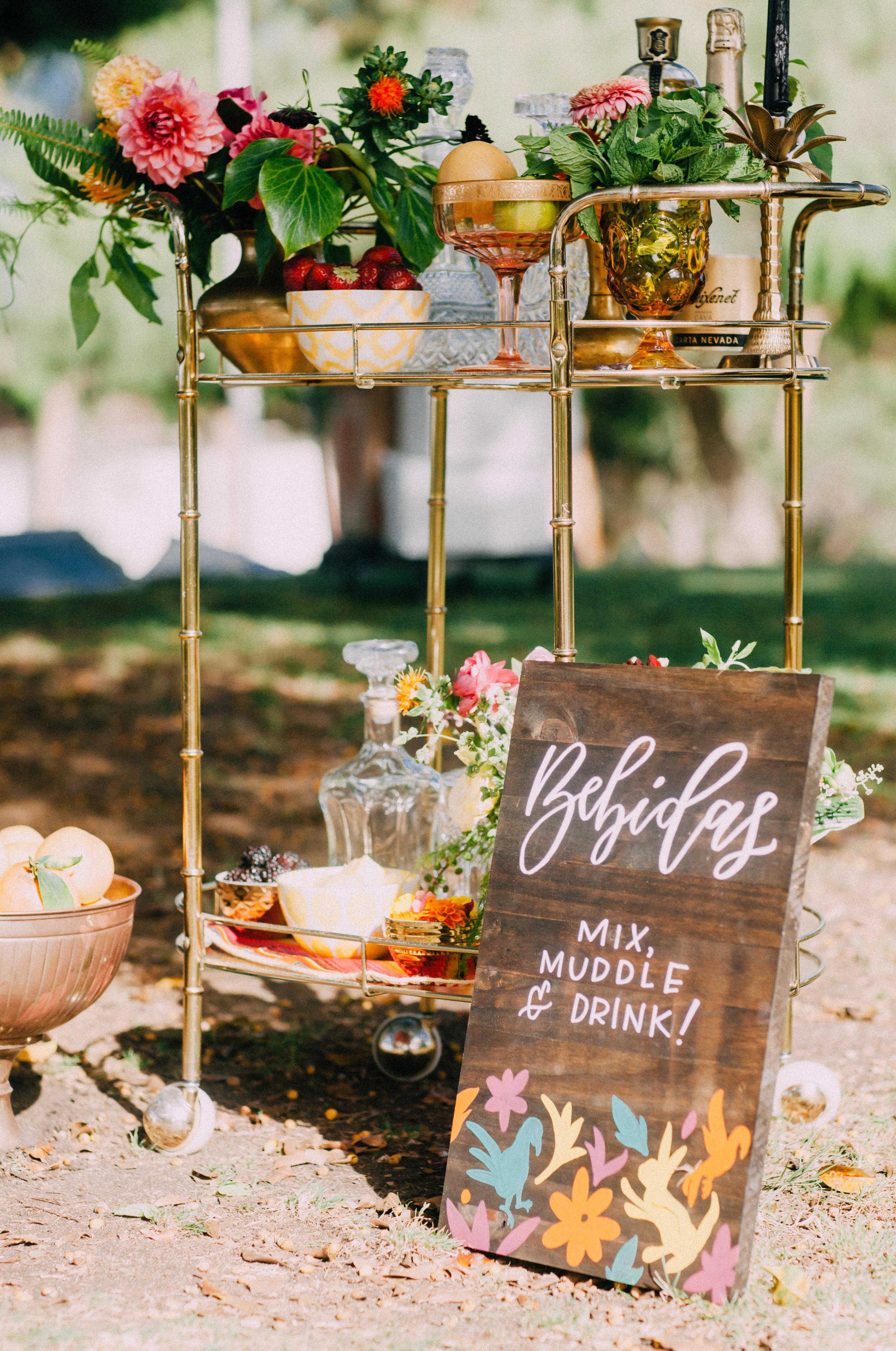 Outdoor bridal shower bar