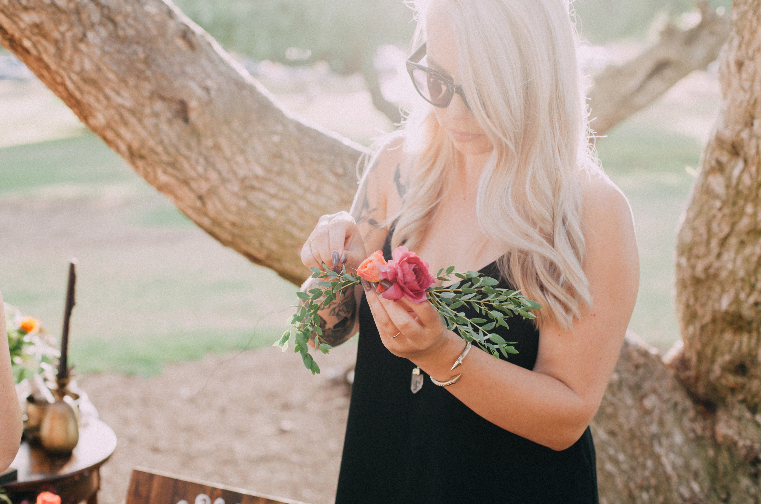 Bridal shower DIY flower crown station
