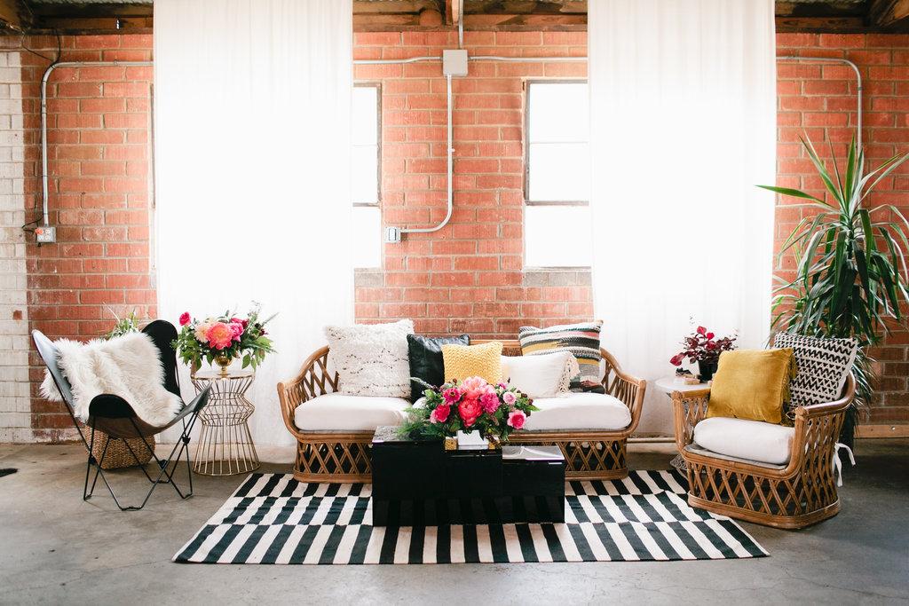 modern geometric baby shower lounge