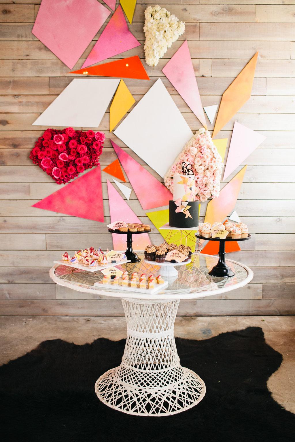 bright geometric dessert display