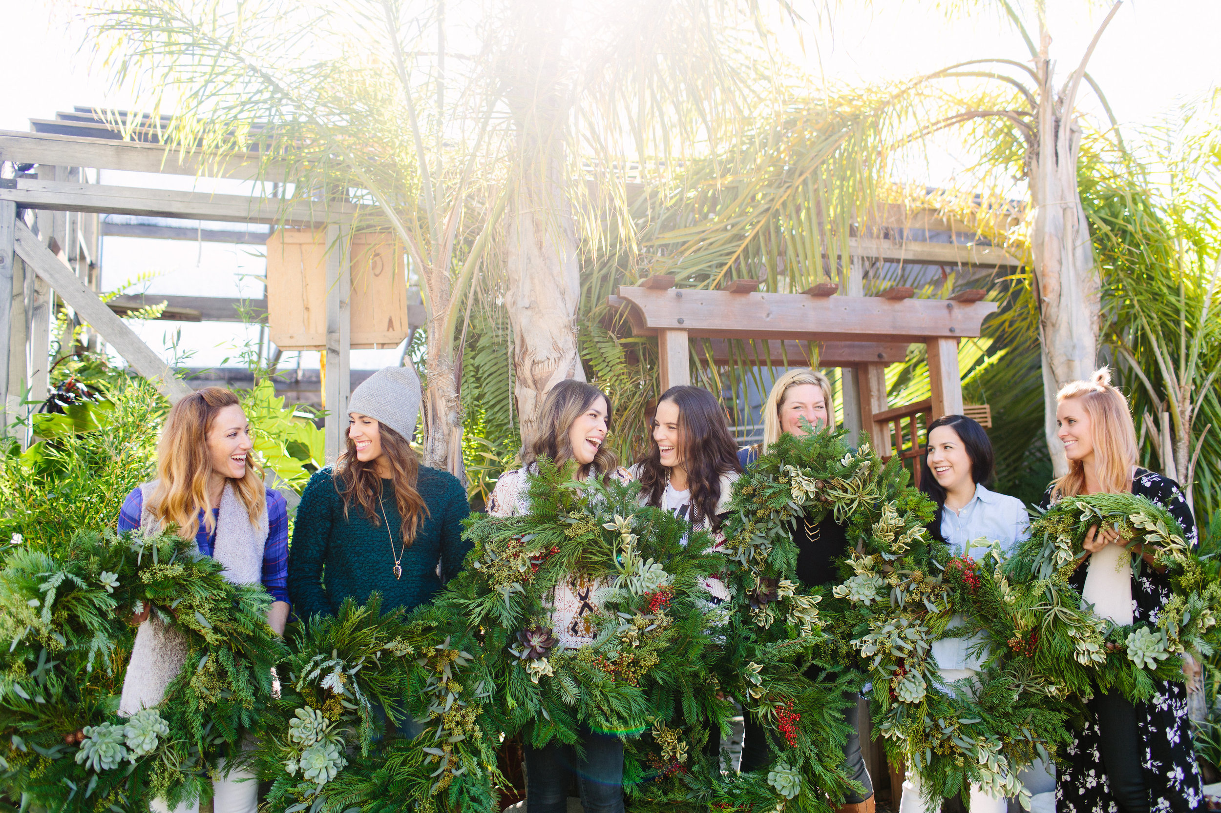 girls holiday wreath party