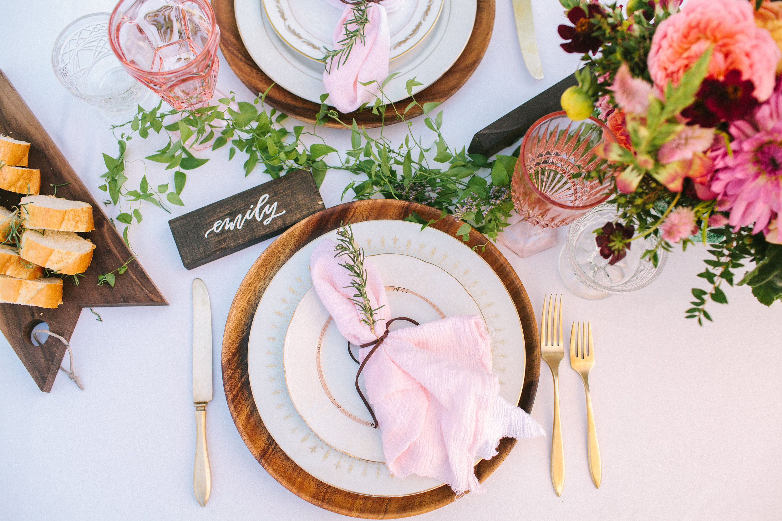 Rosé Inspired Bridal Shower place setting