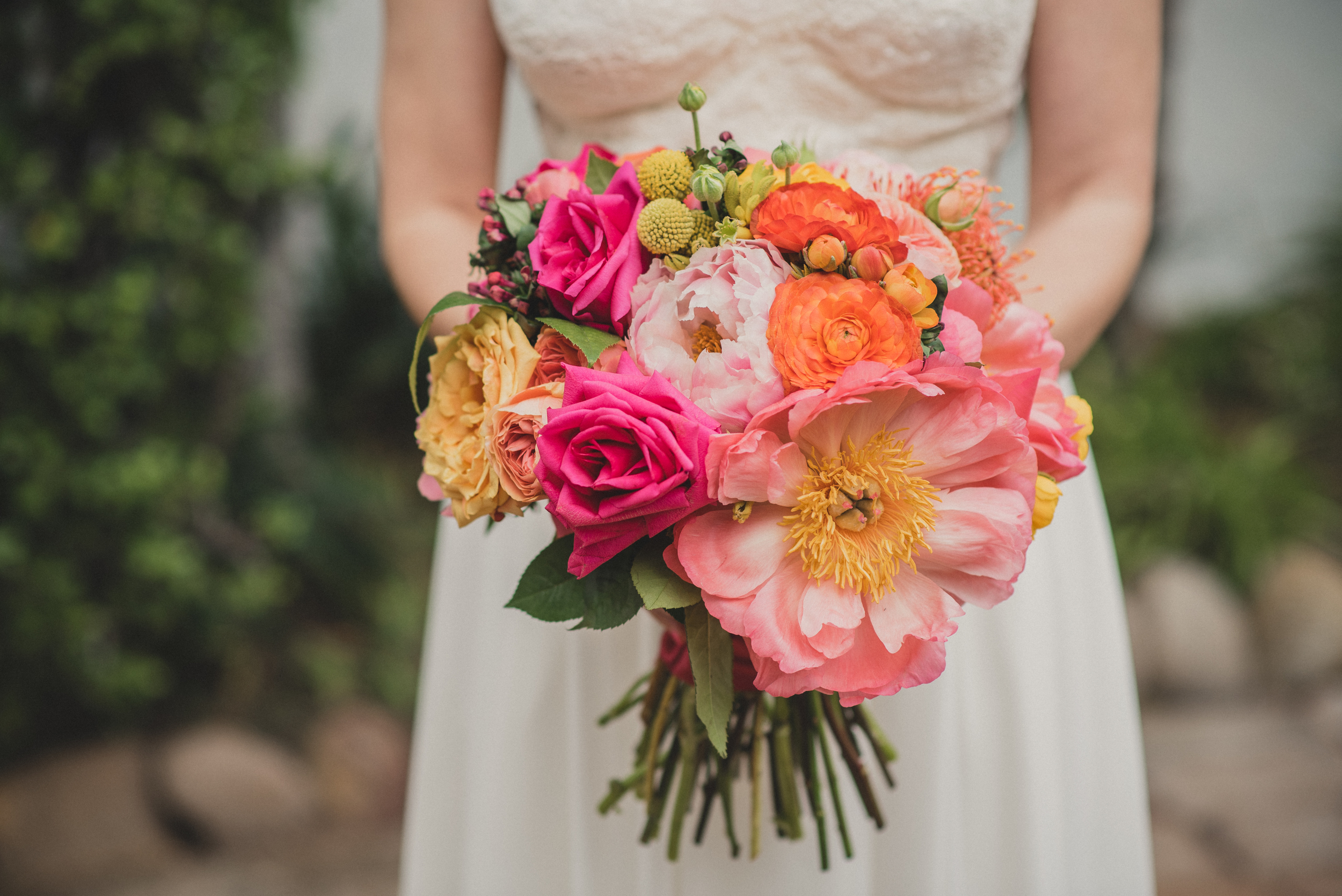 Pink and orange wedding bouquet