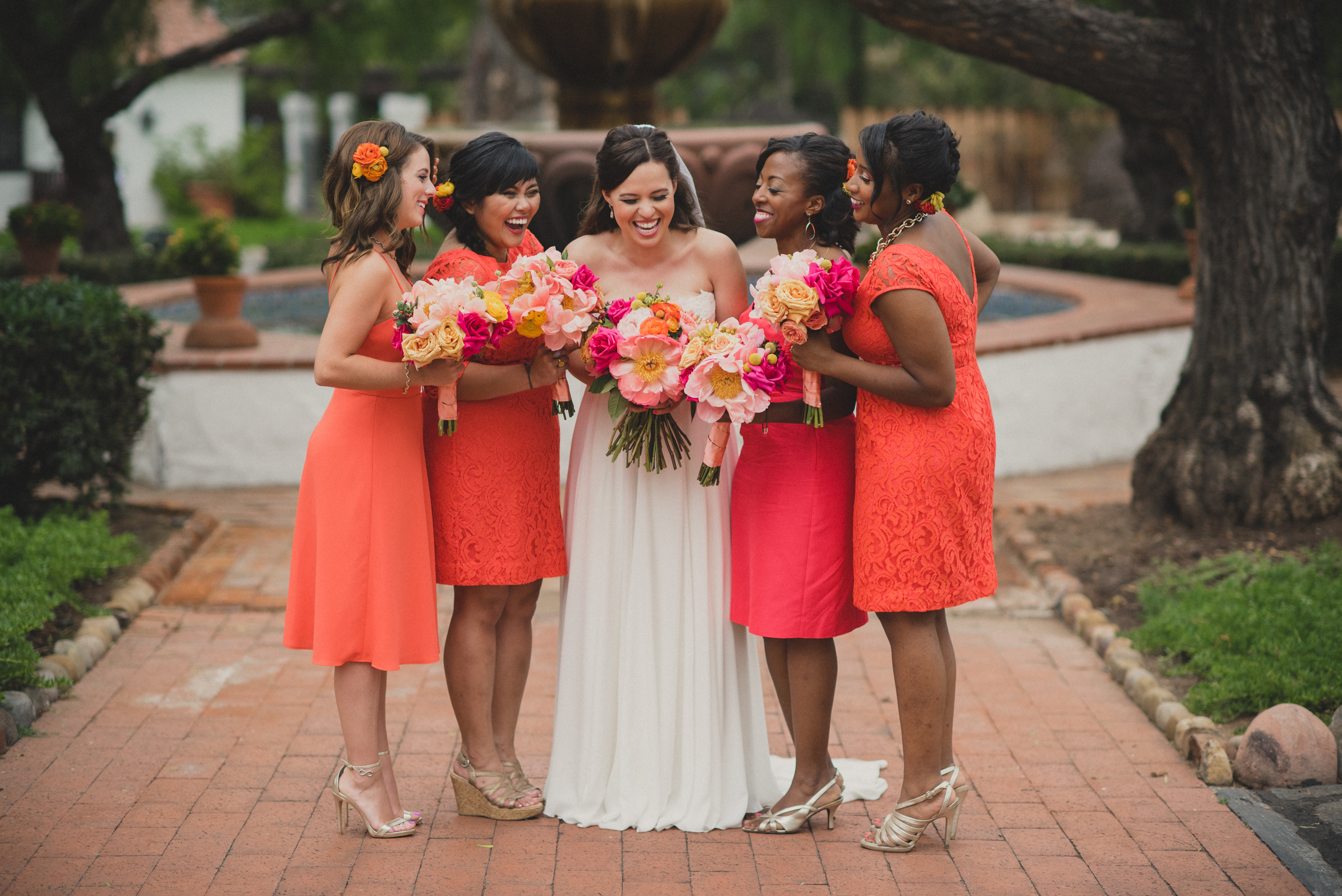 Bright orange and pink San Diego wedding