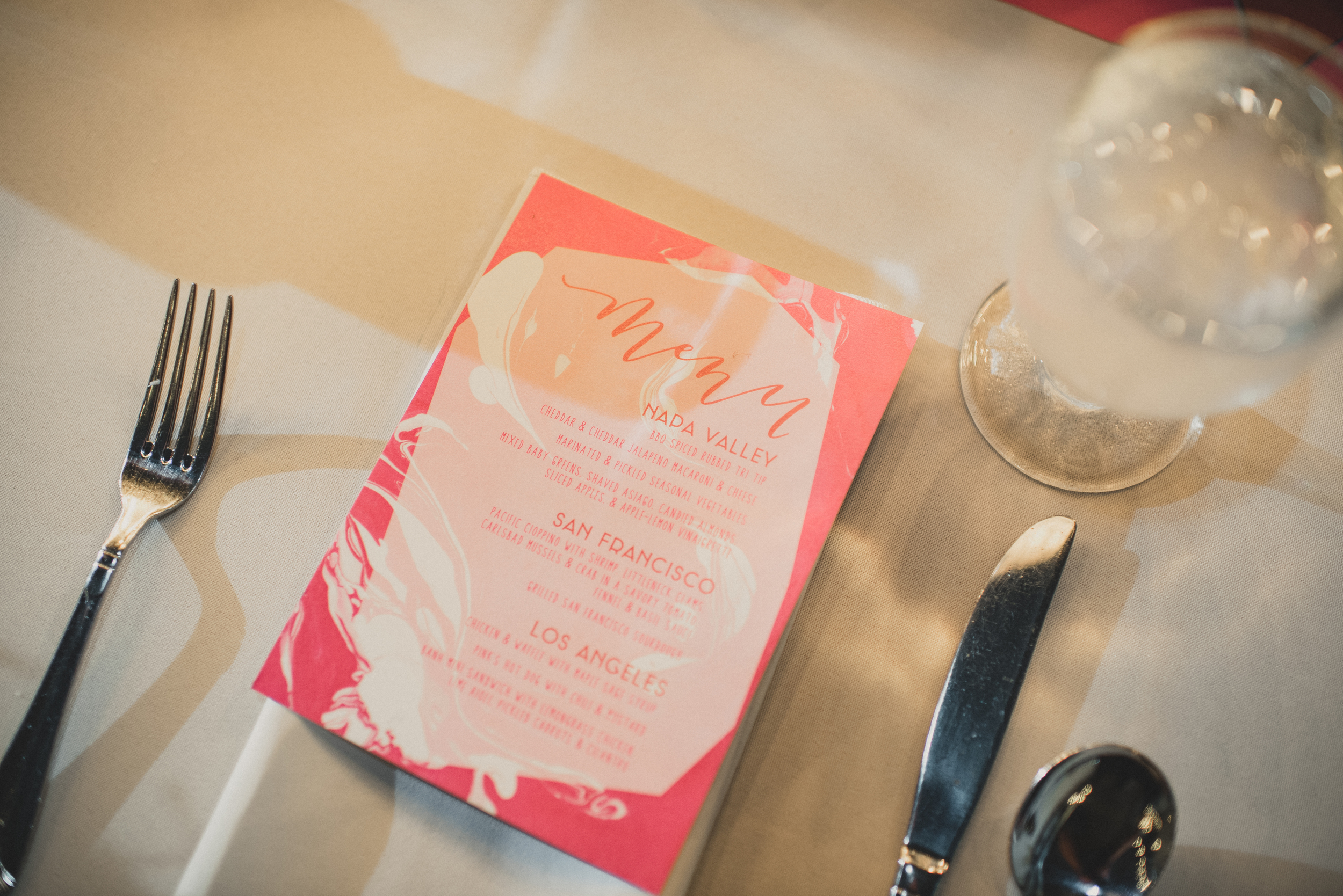 Modern pink splatter paint wedding menus