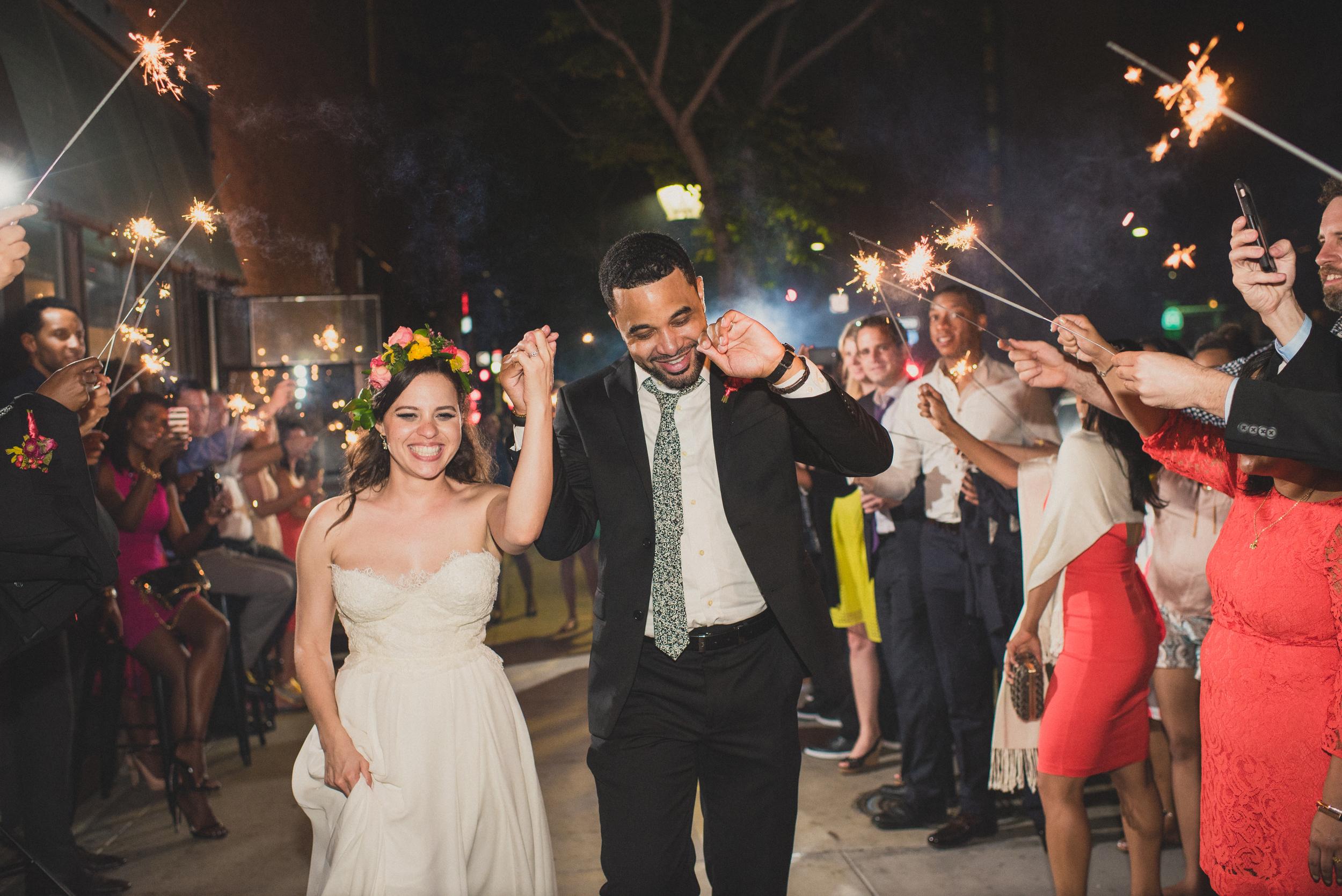 San Diego wedding sparkler exit