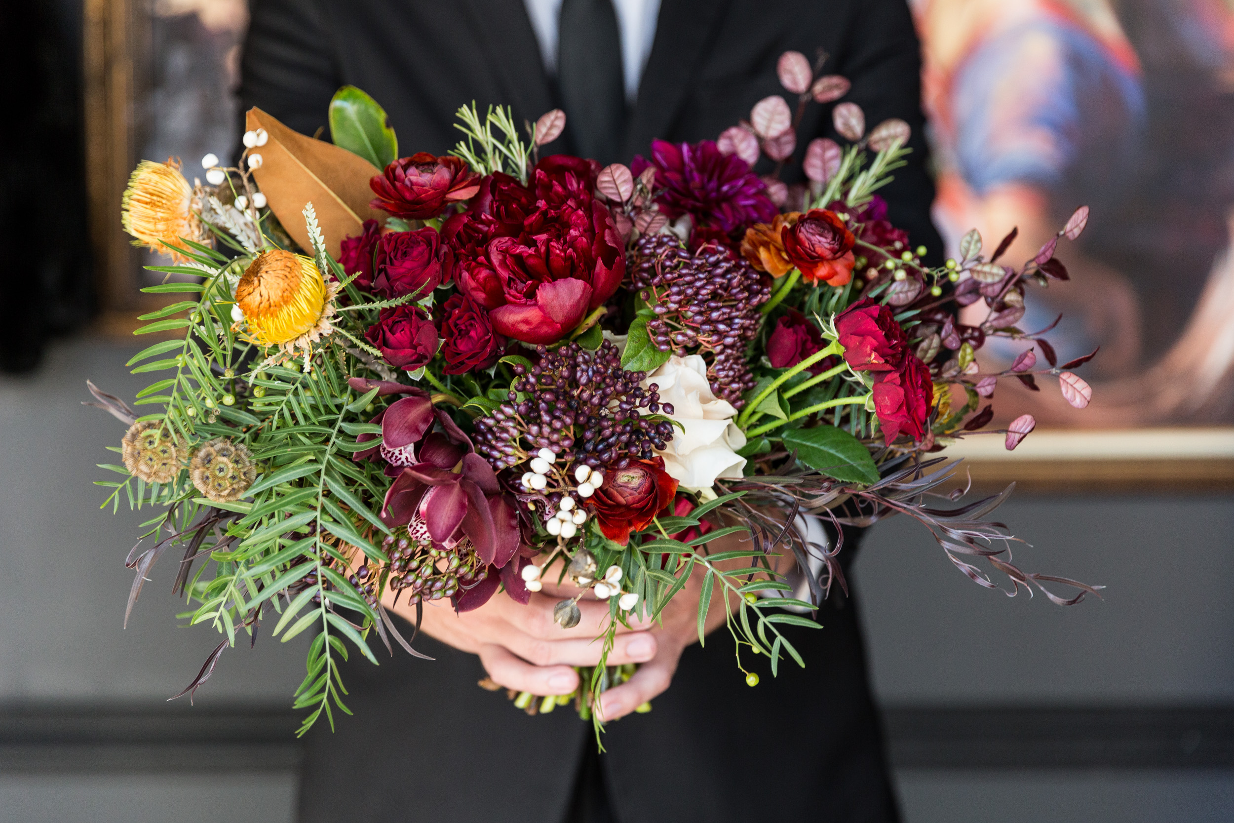 Deep wedding color palette florals