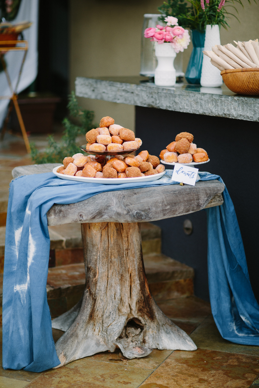 Baby shower indigo dessert display