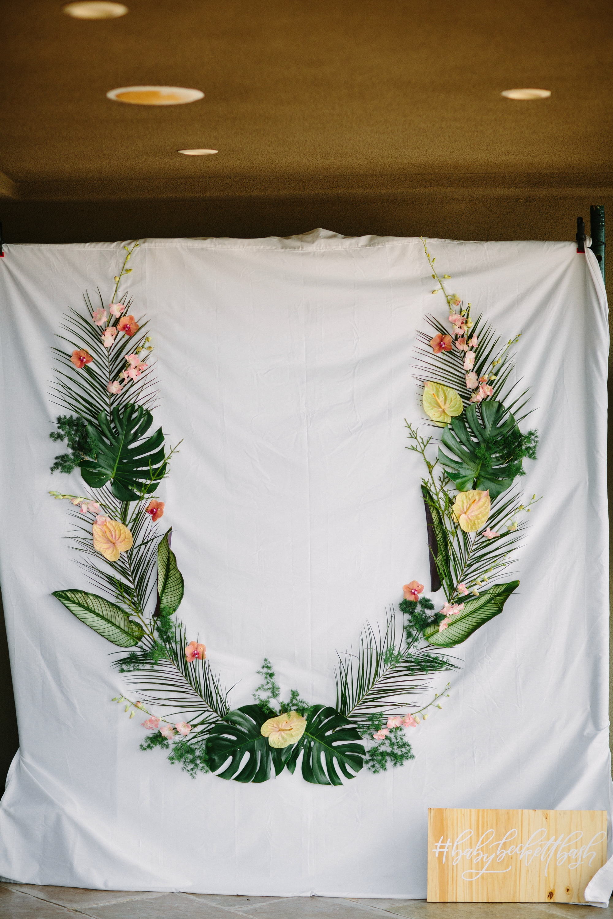 Tropical inspired photo booth backdrop