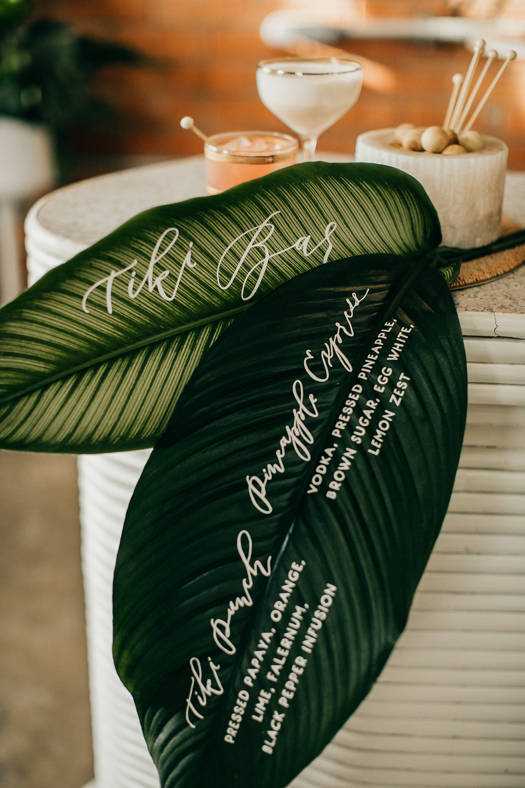 Tropical leaf bar menu