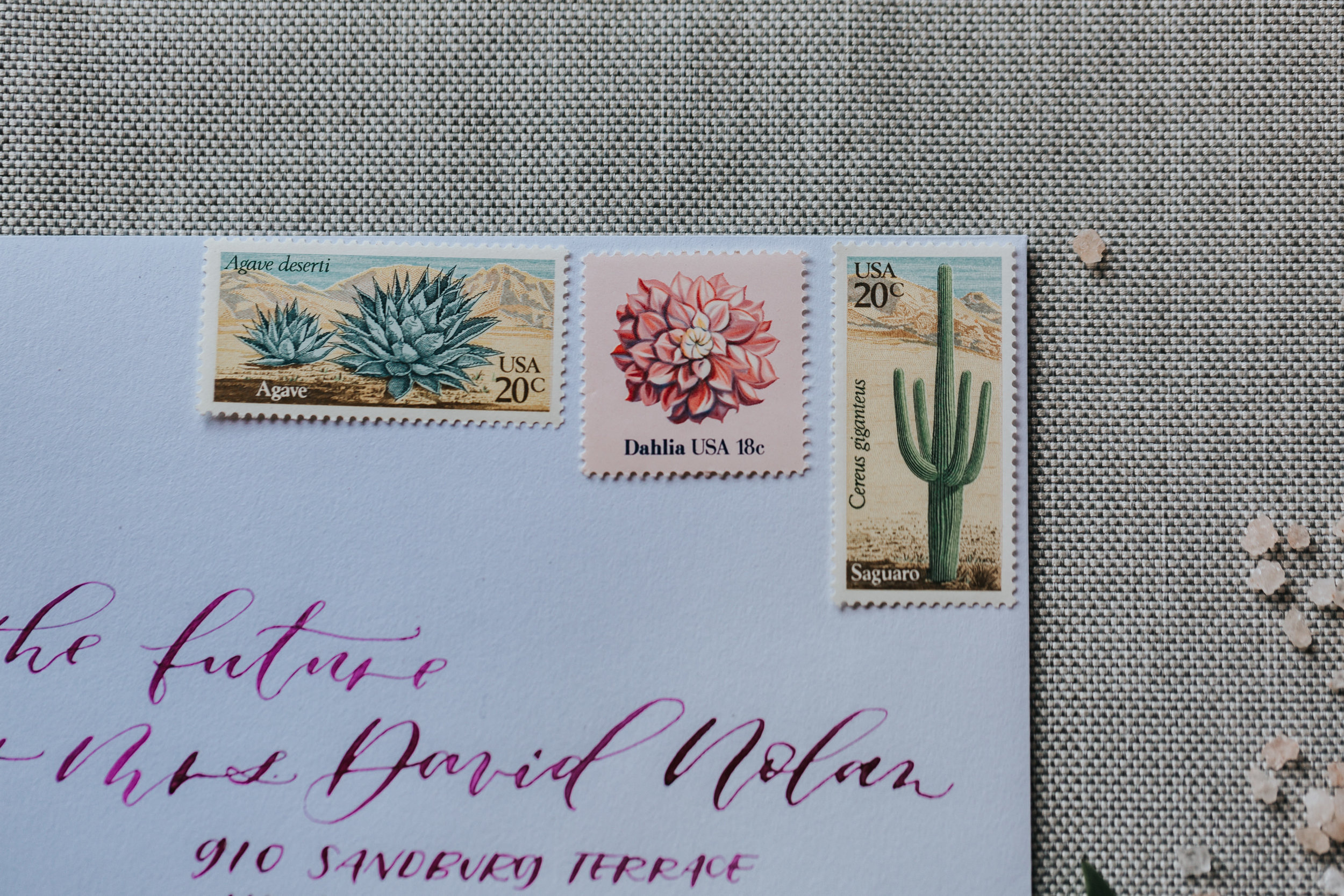 palm springs wedding postage stamps