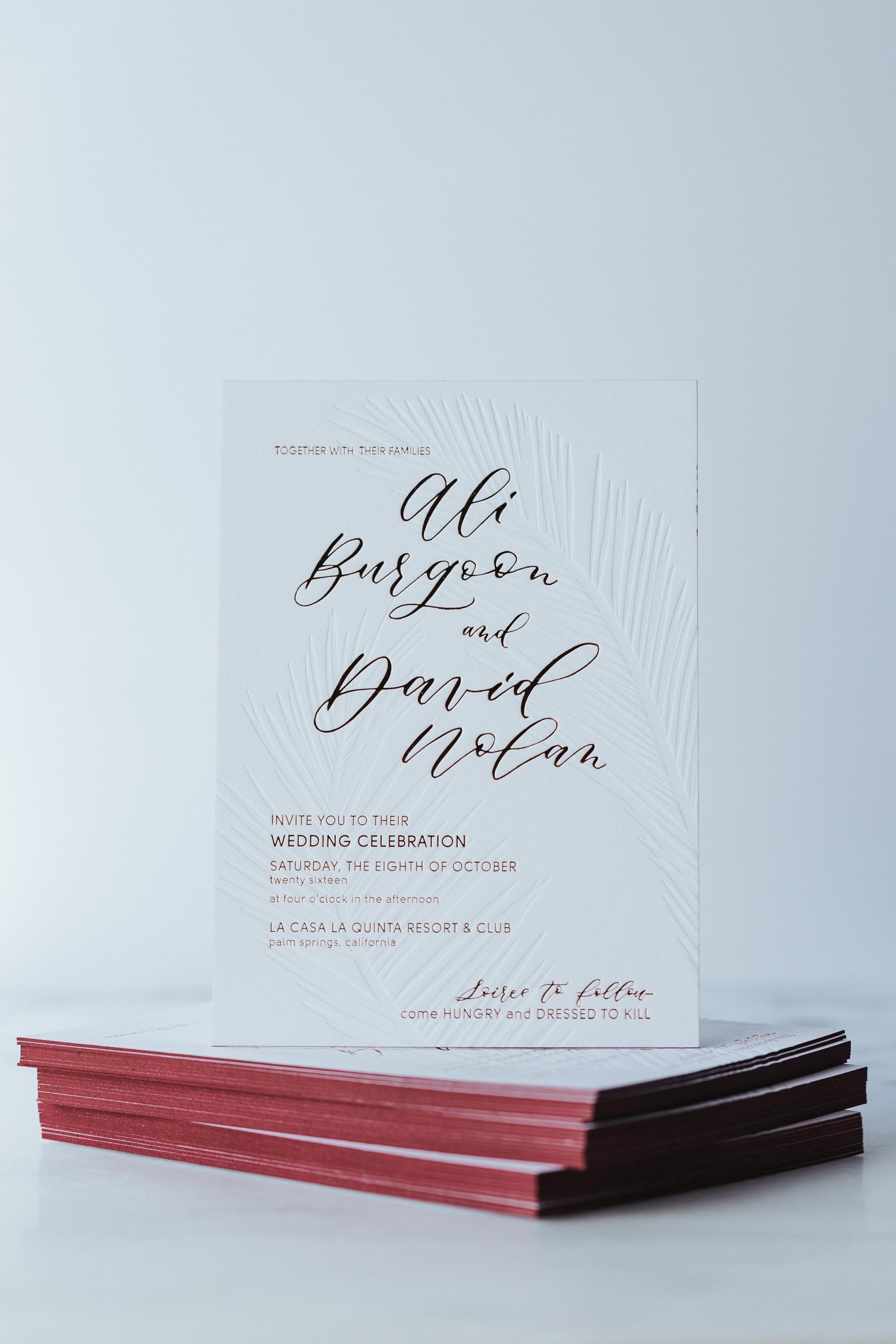 wedding invitation painted edge