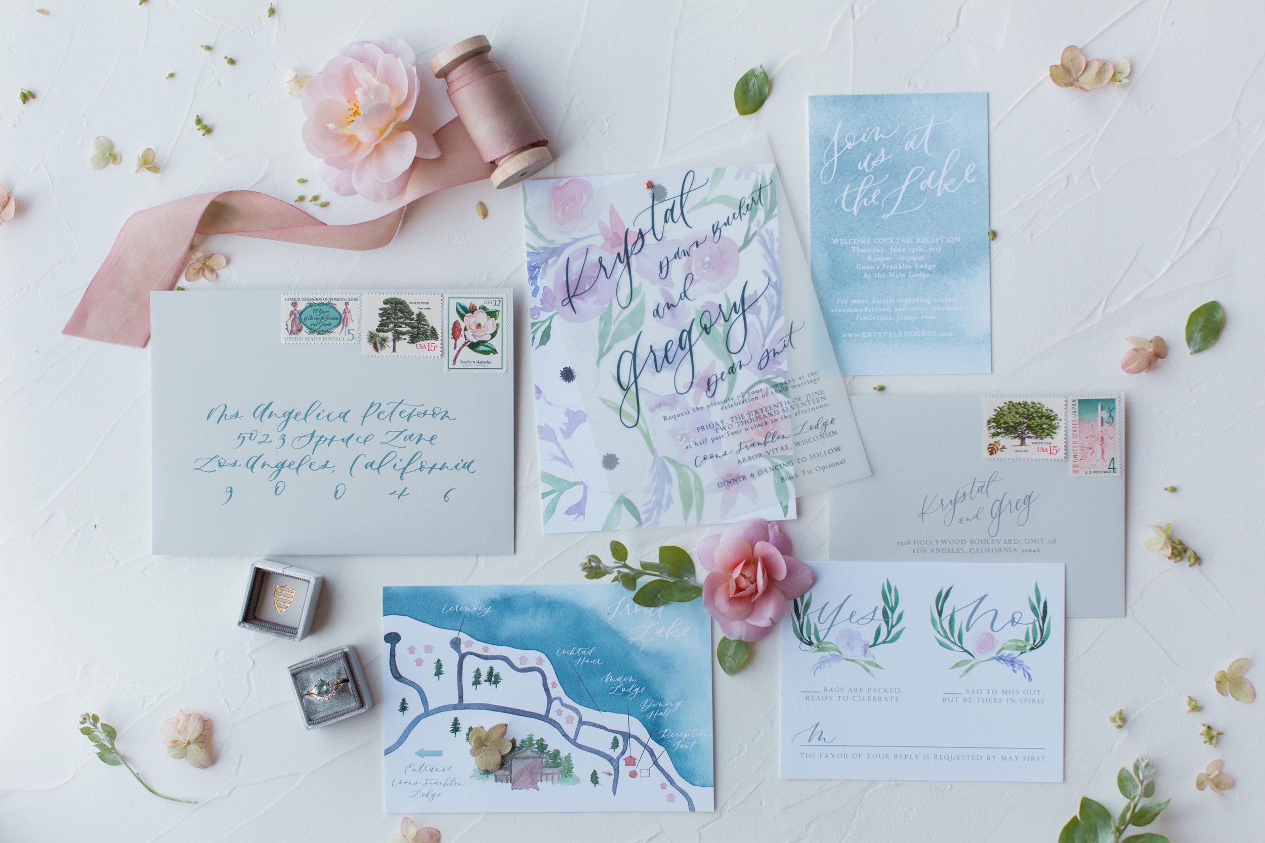 Lake destination wedding invitation