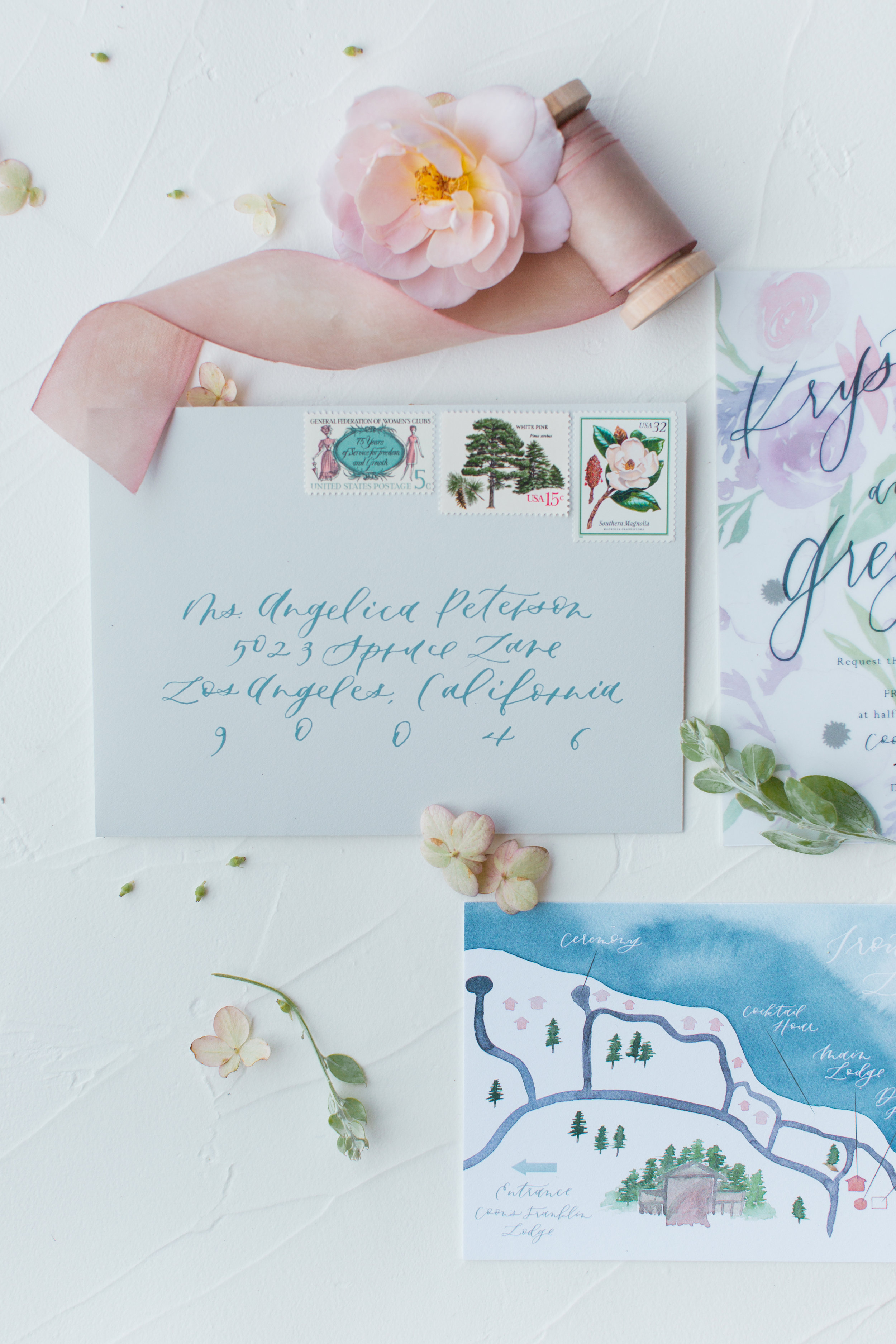 Dusty blue envelope calligraphy
