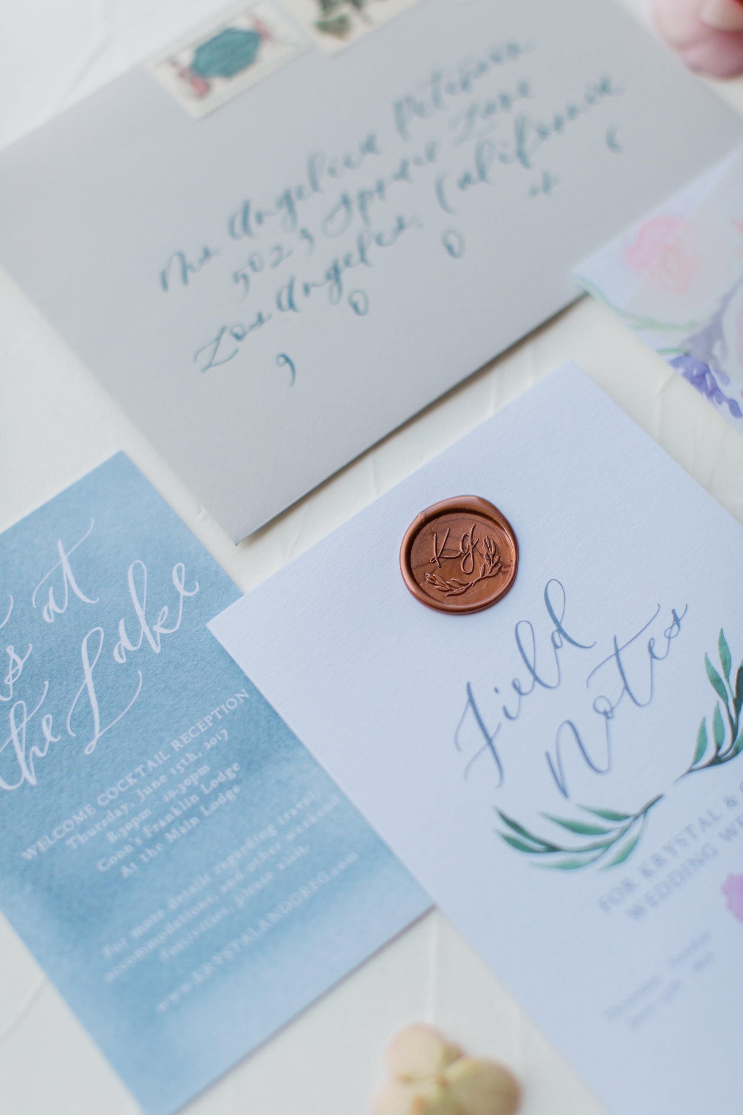 copper wax seal invitations