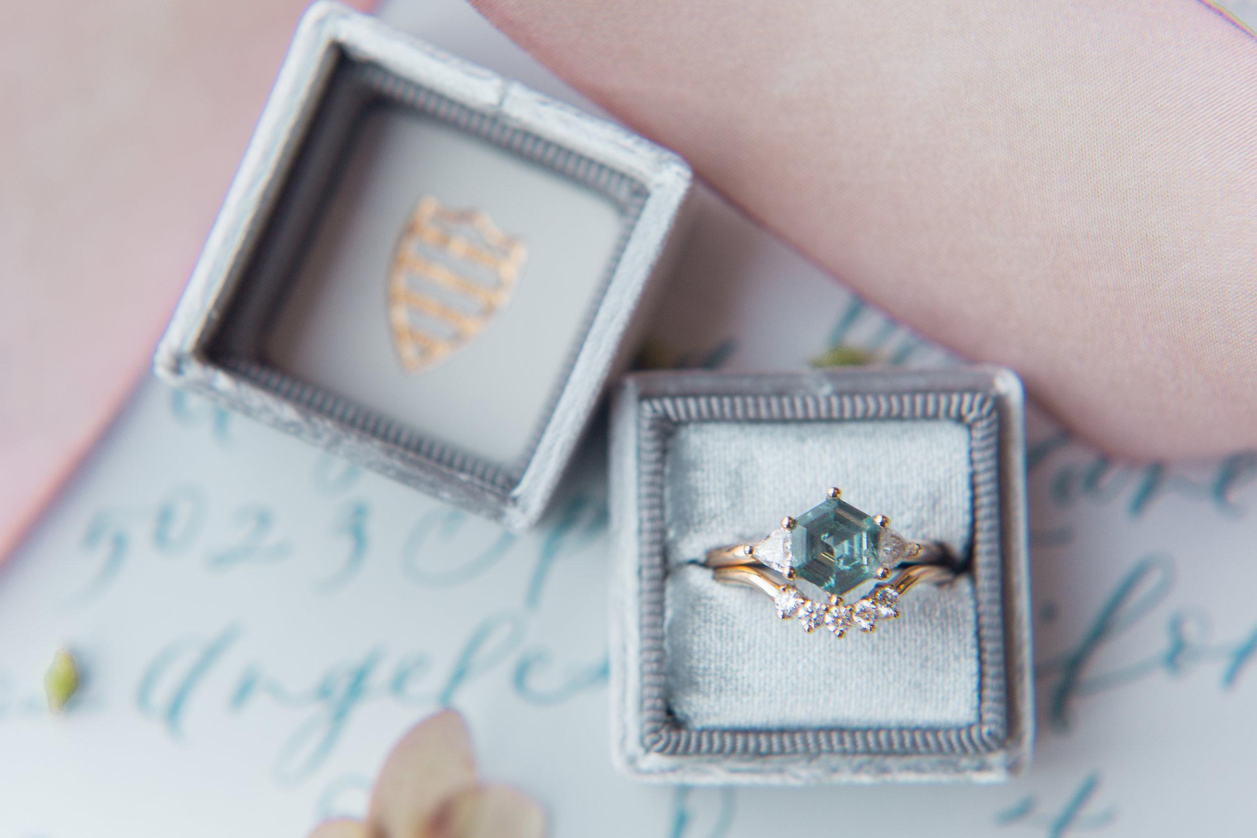unique blue wedding rings