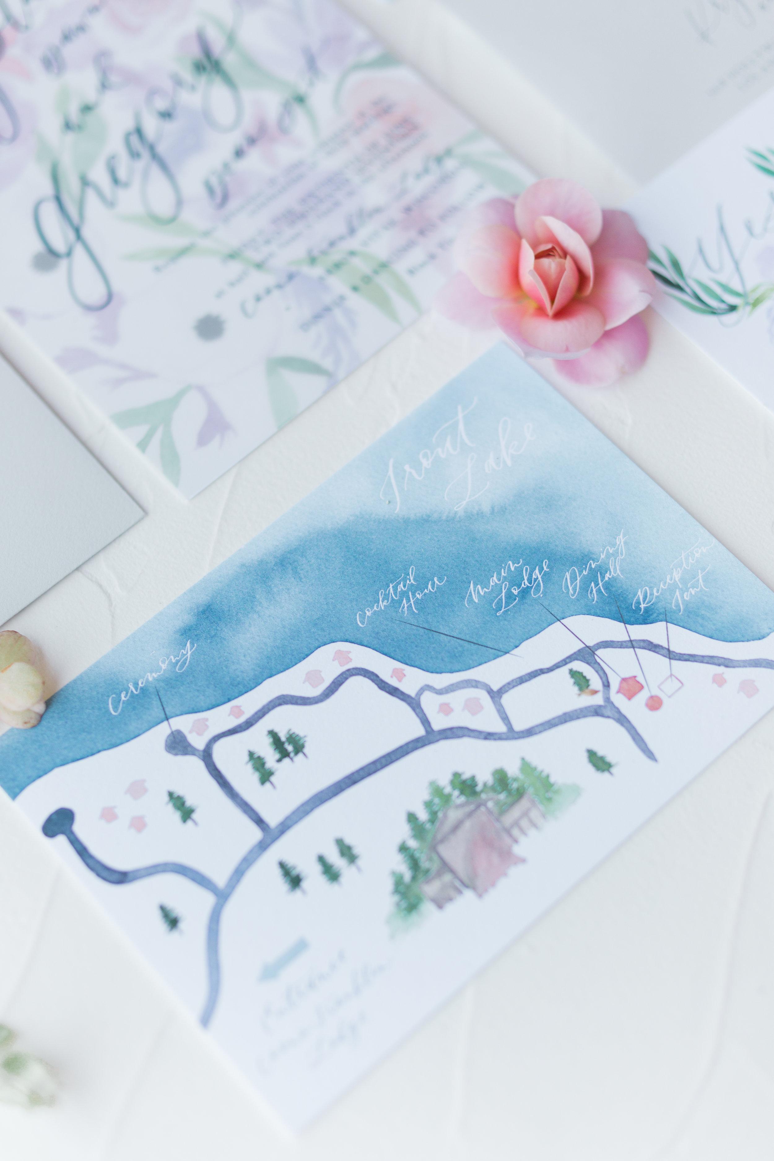 wedding property lake painted map
