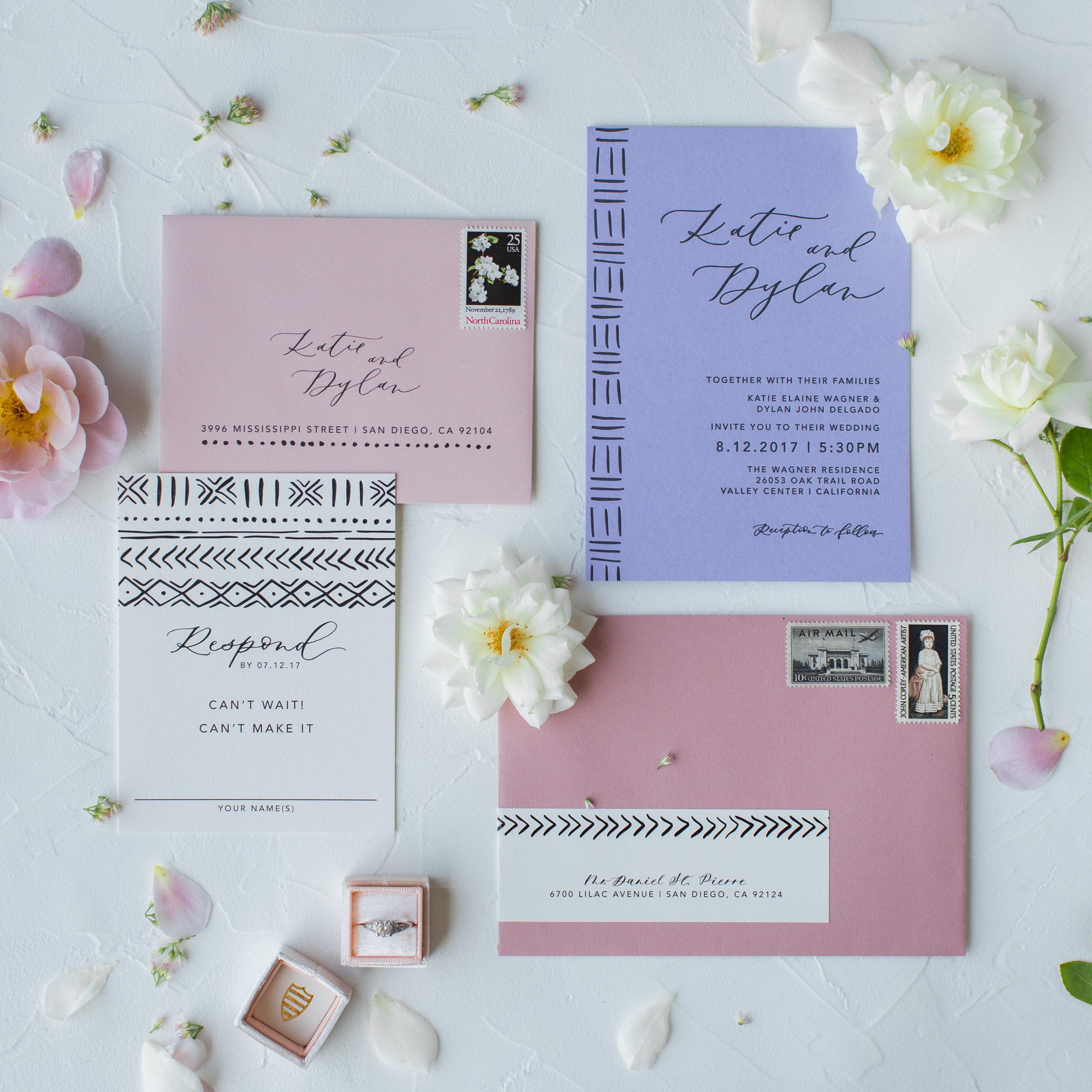 modern boho wedding invites