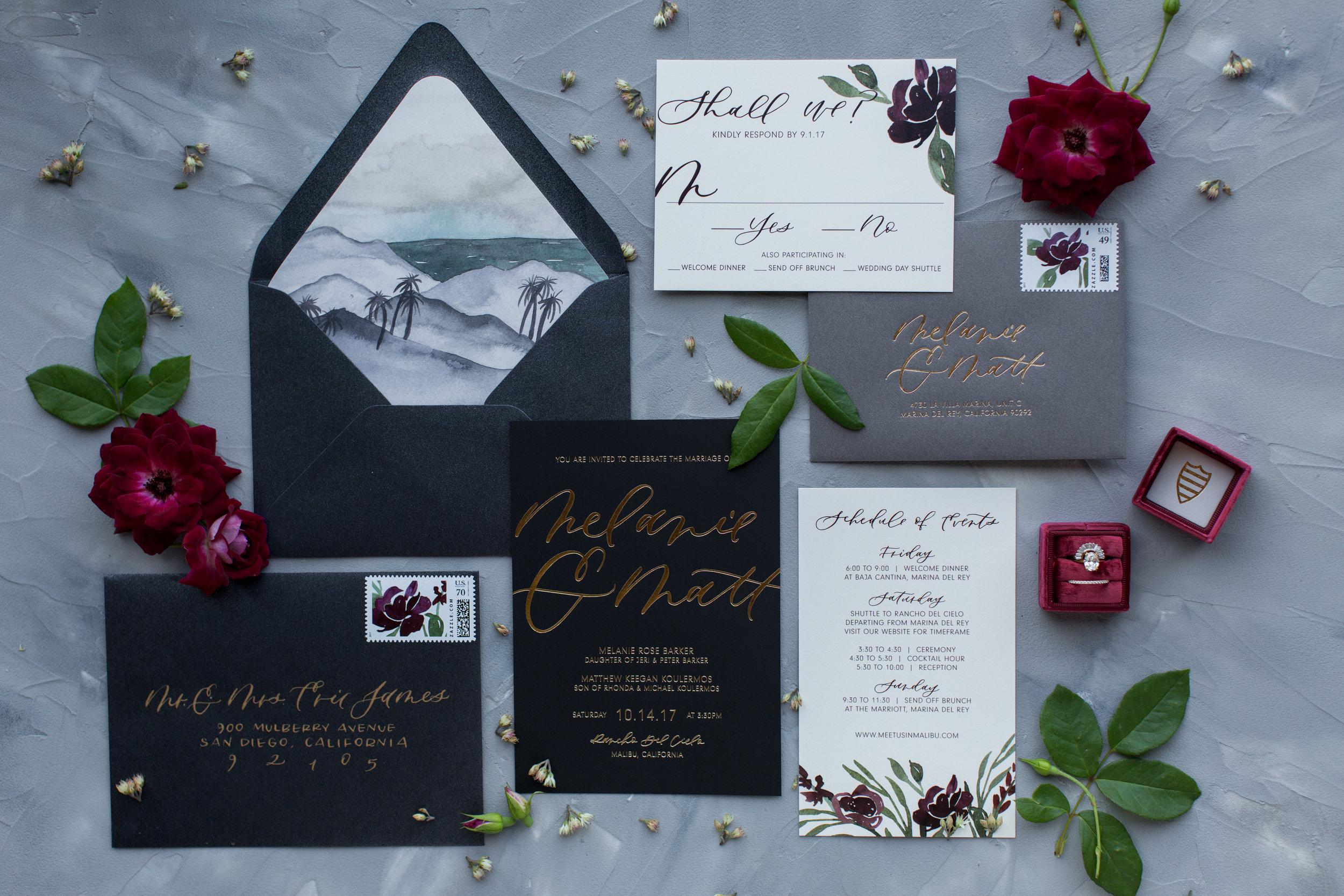 malibu wedding invitations