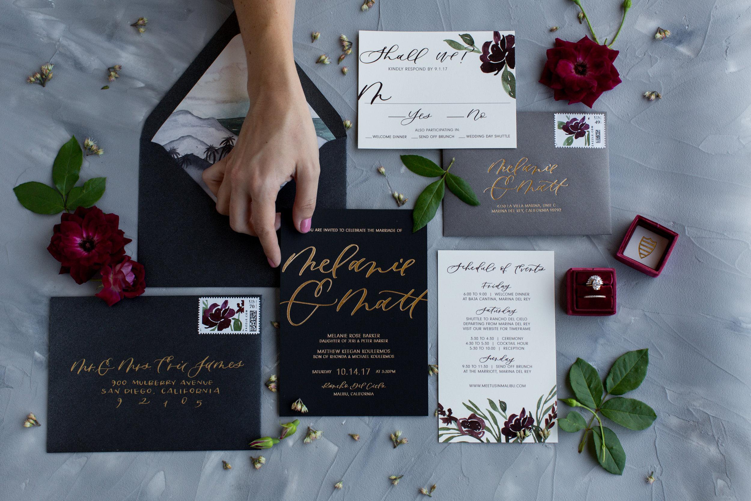burgundy and gold wedding