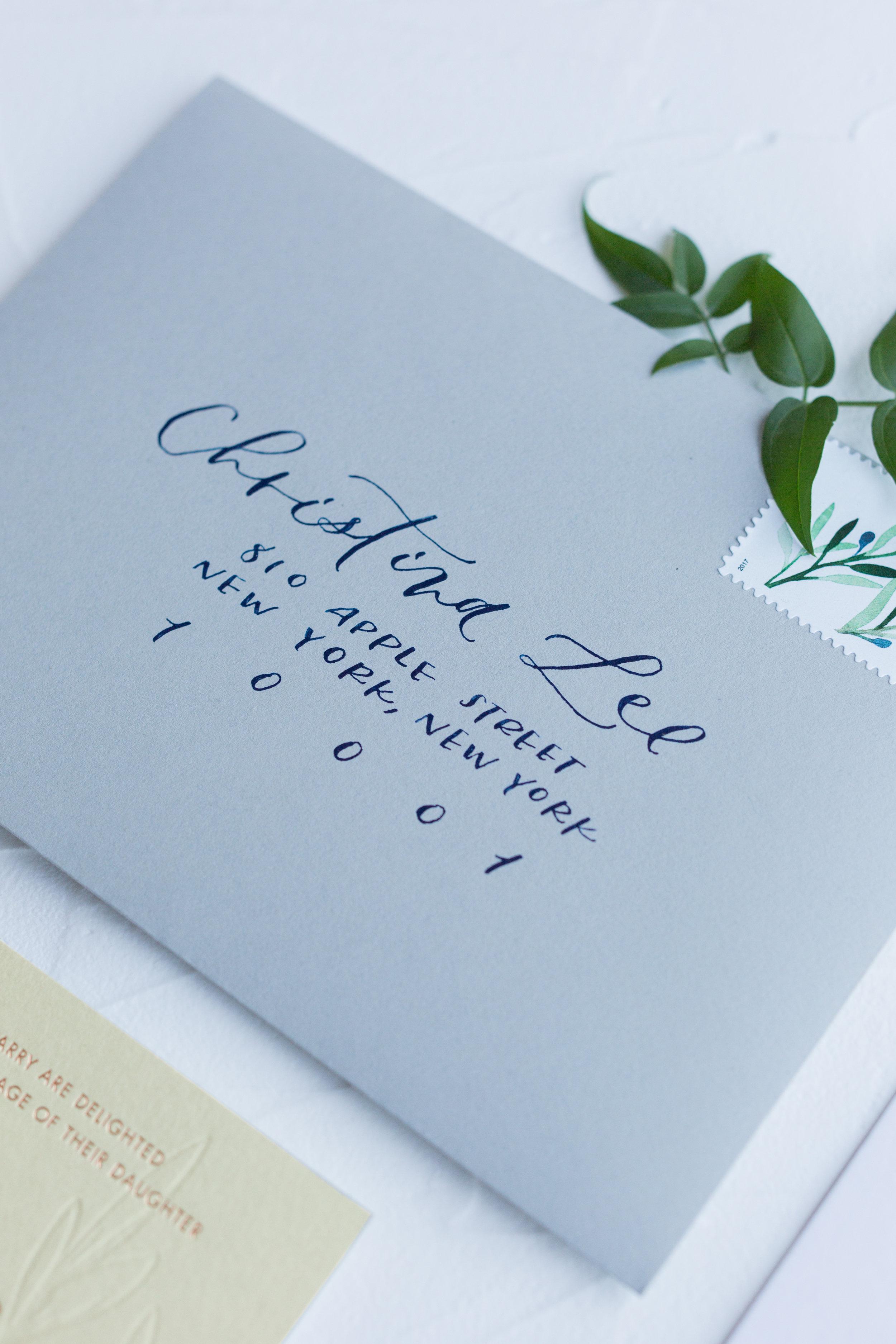 navy envelope calligraphy