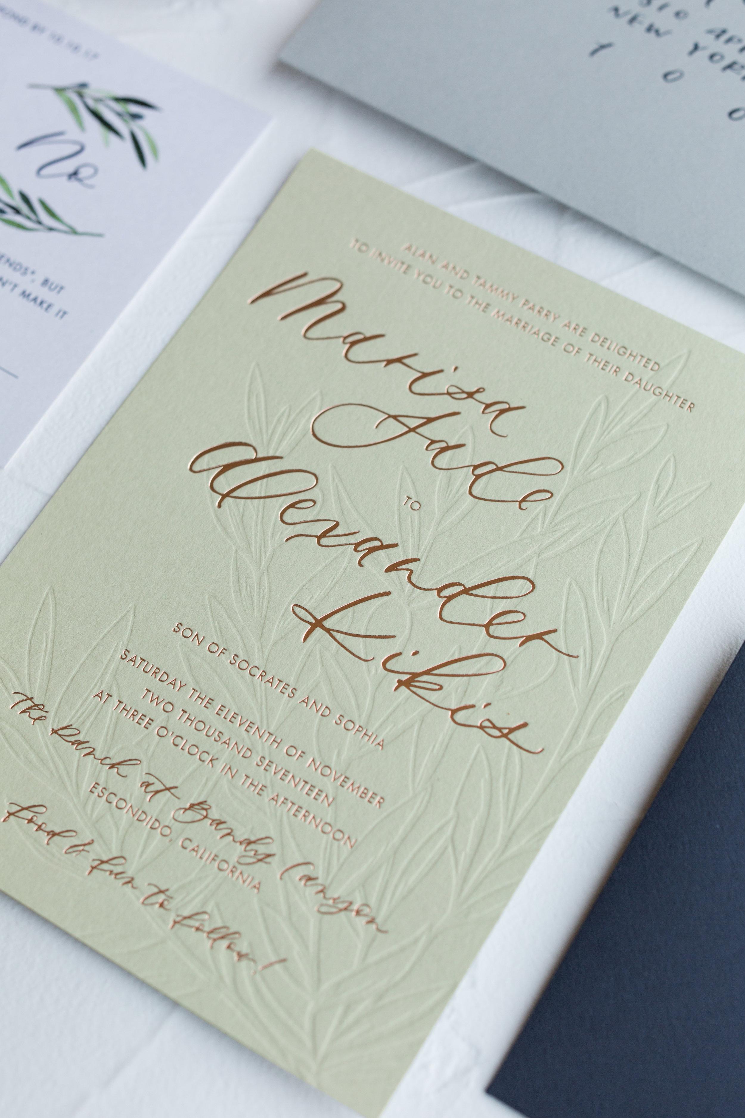 foil and blind letterpress invitation