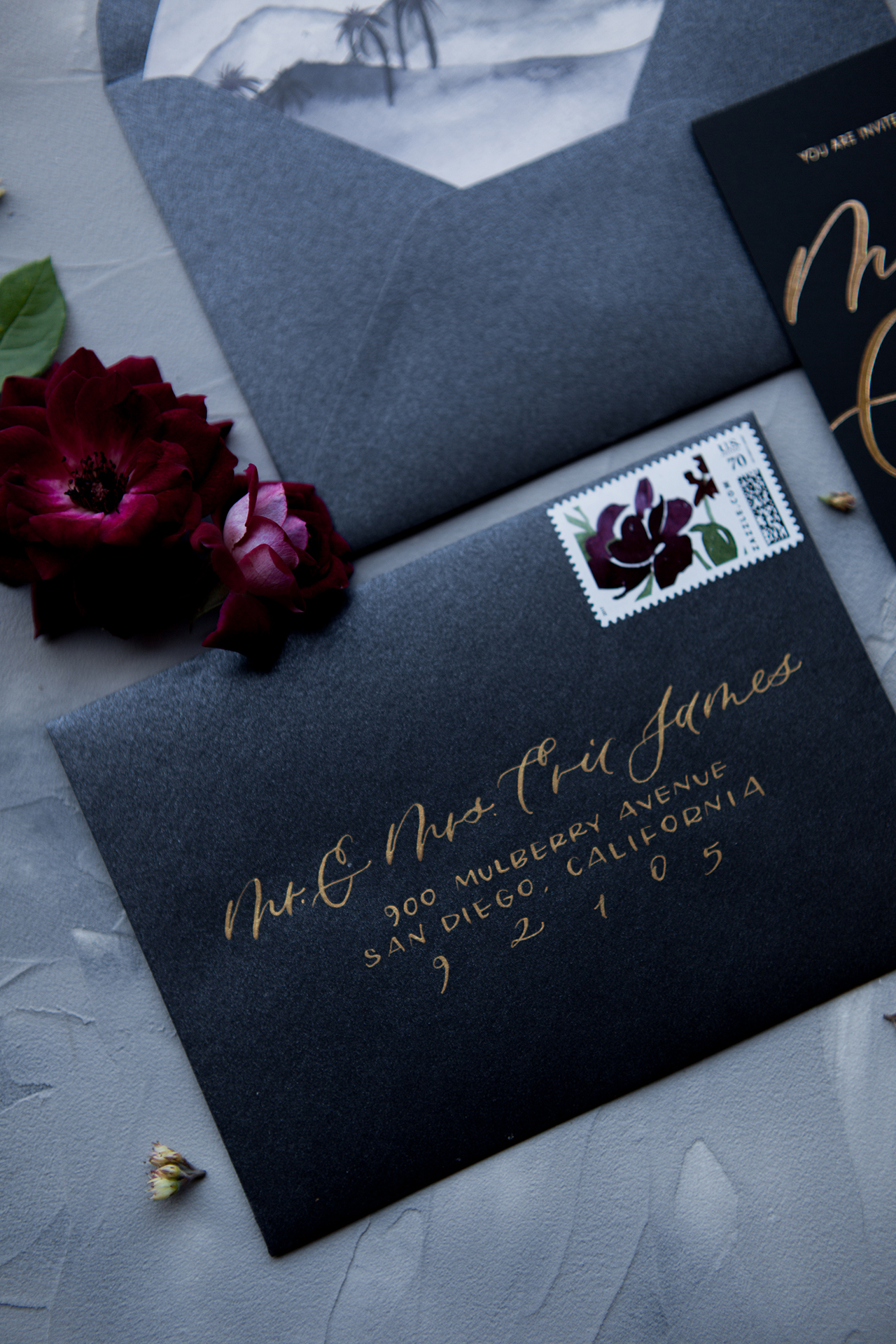 Black and gold envelope calligraphy