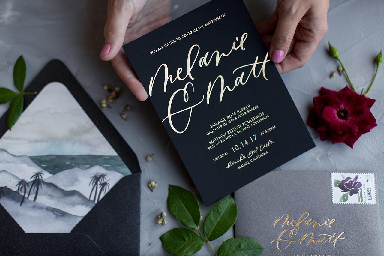 Black and gold moody wedding invitations