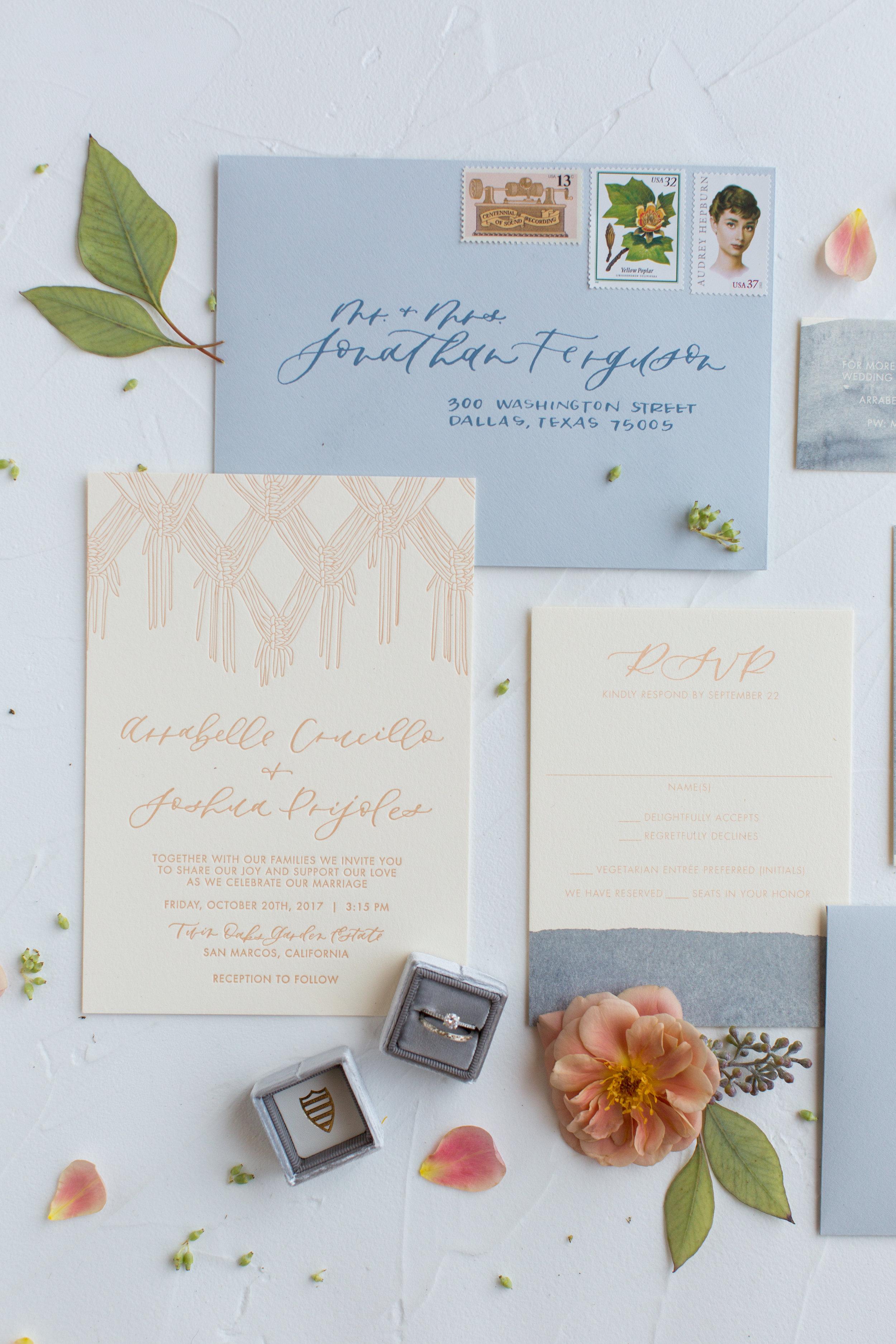 Boho letterpress invitation