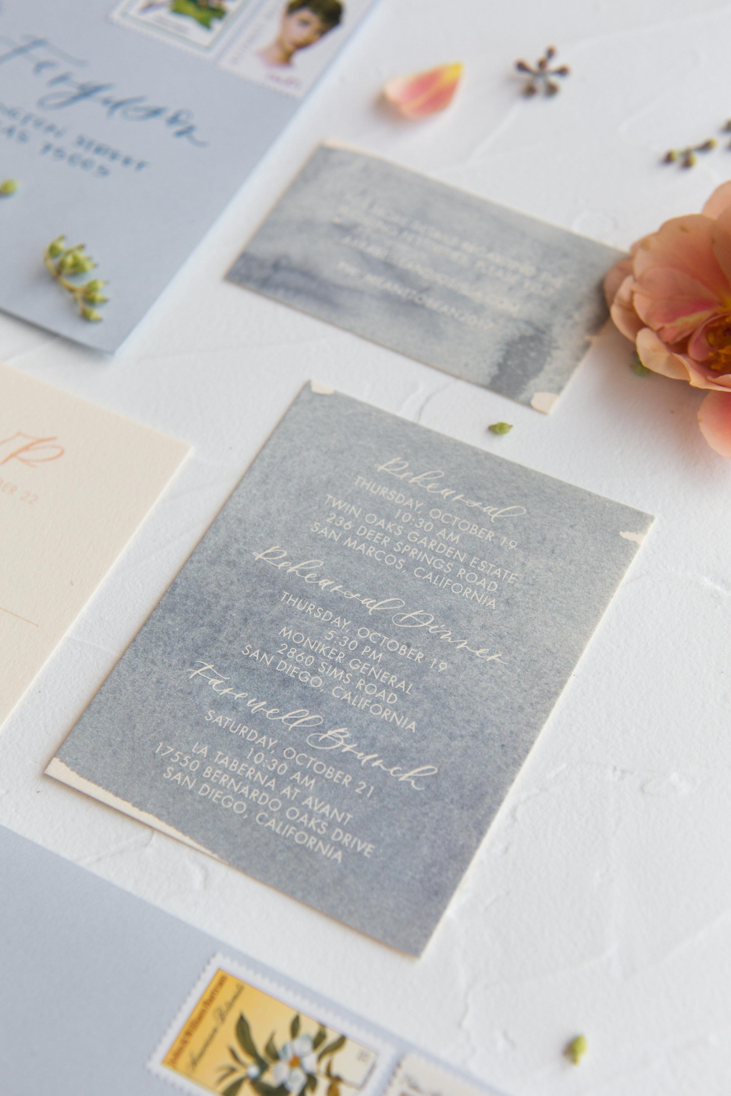Dusty blue watercolor wedding invitation