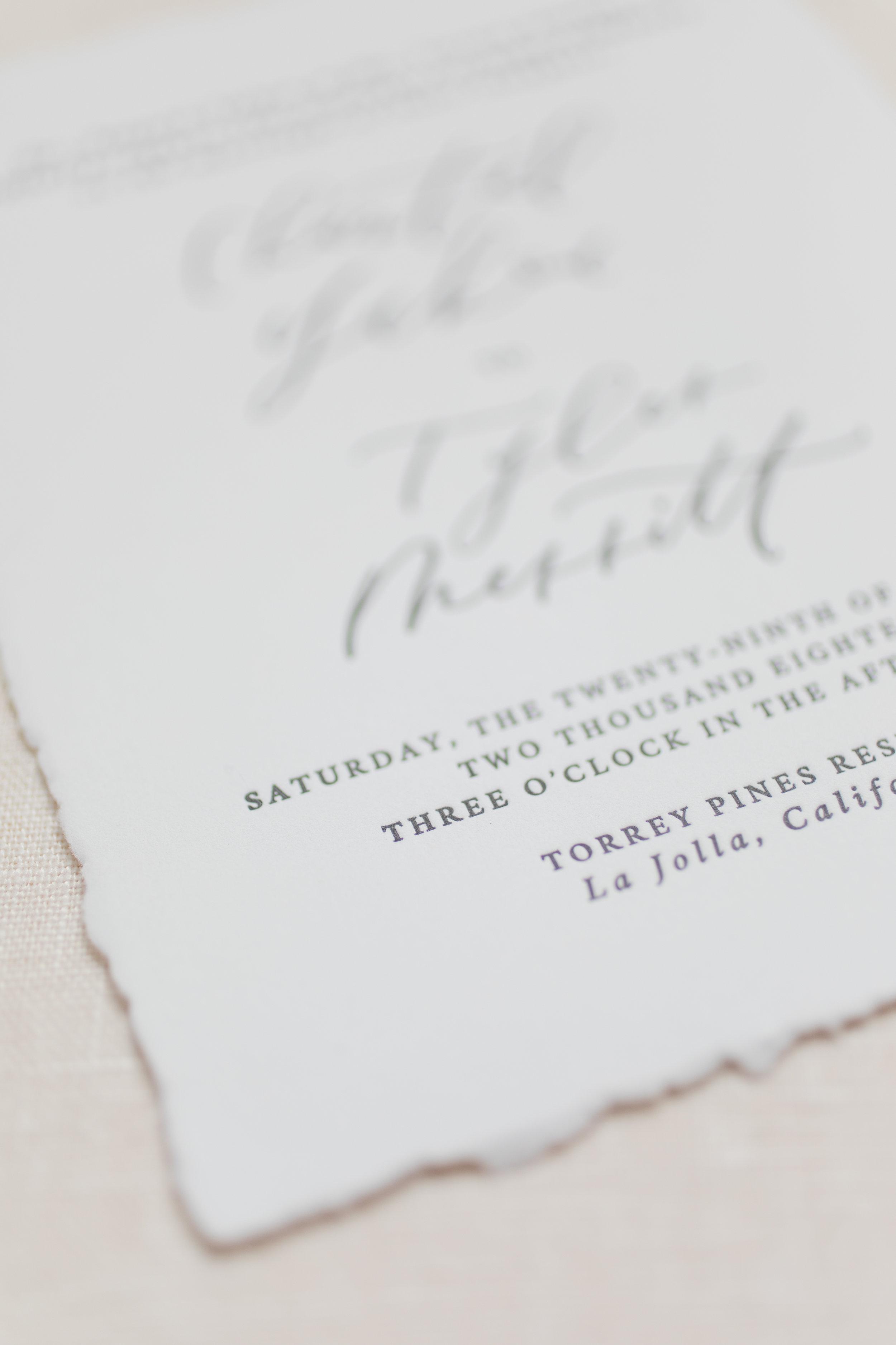 deckled edge wedding invitation